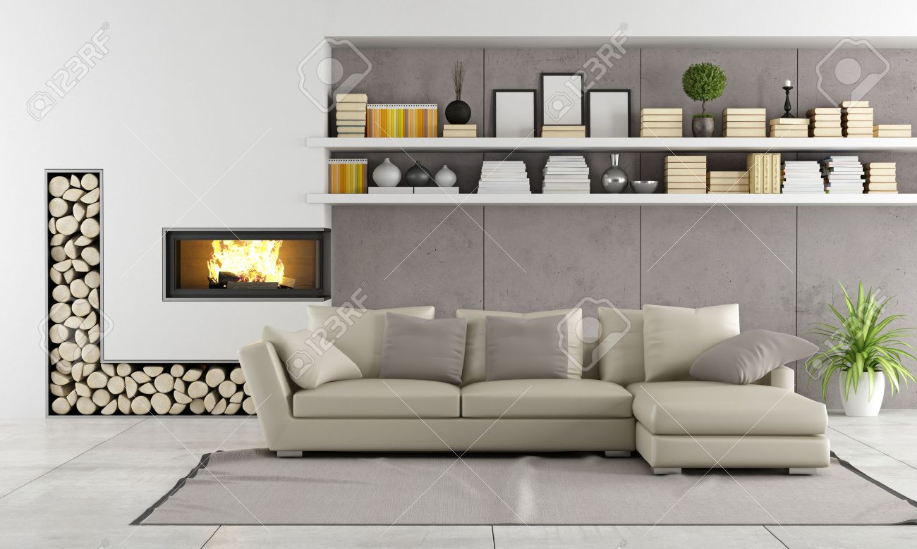 modern living room with fireplace sofa and shelves with books