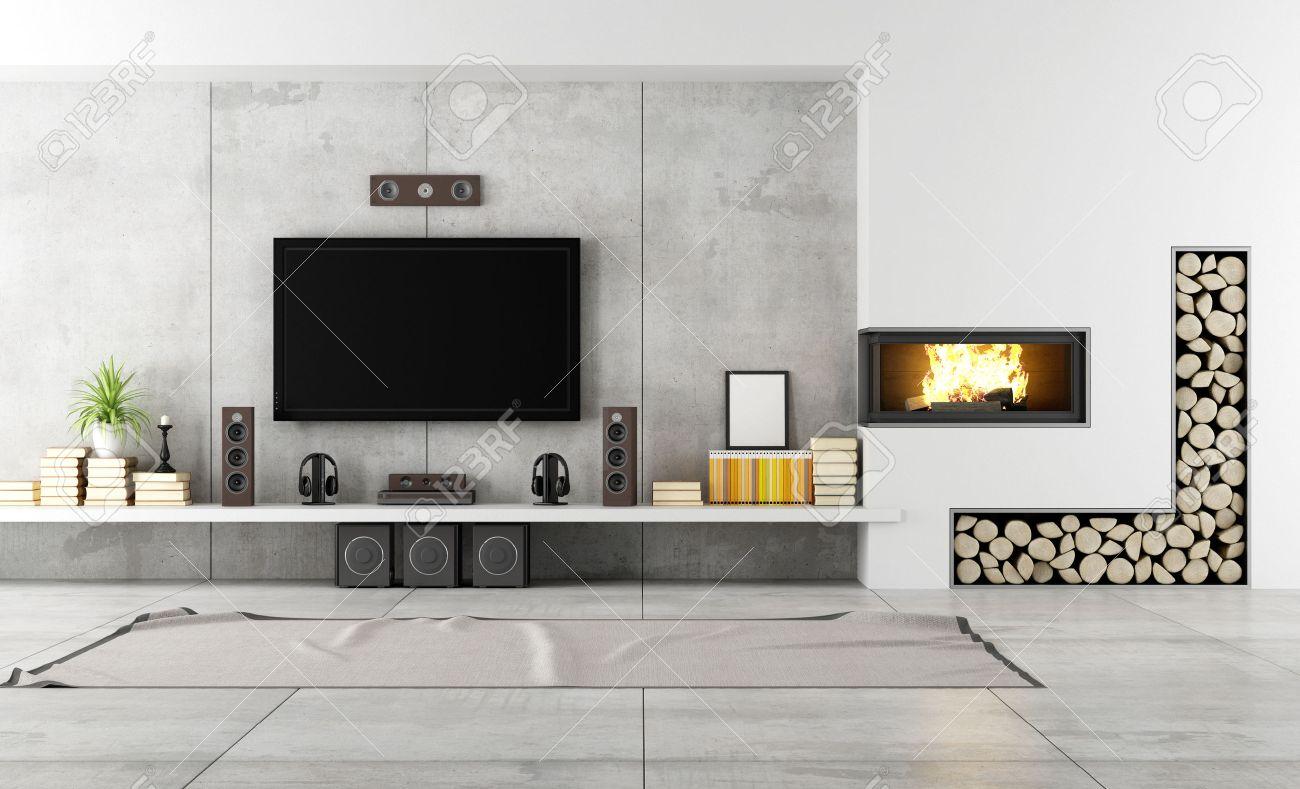 salon moderne avec tv et cheminée - rendu banque d'images et photos