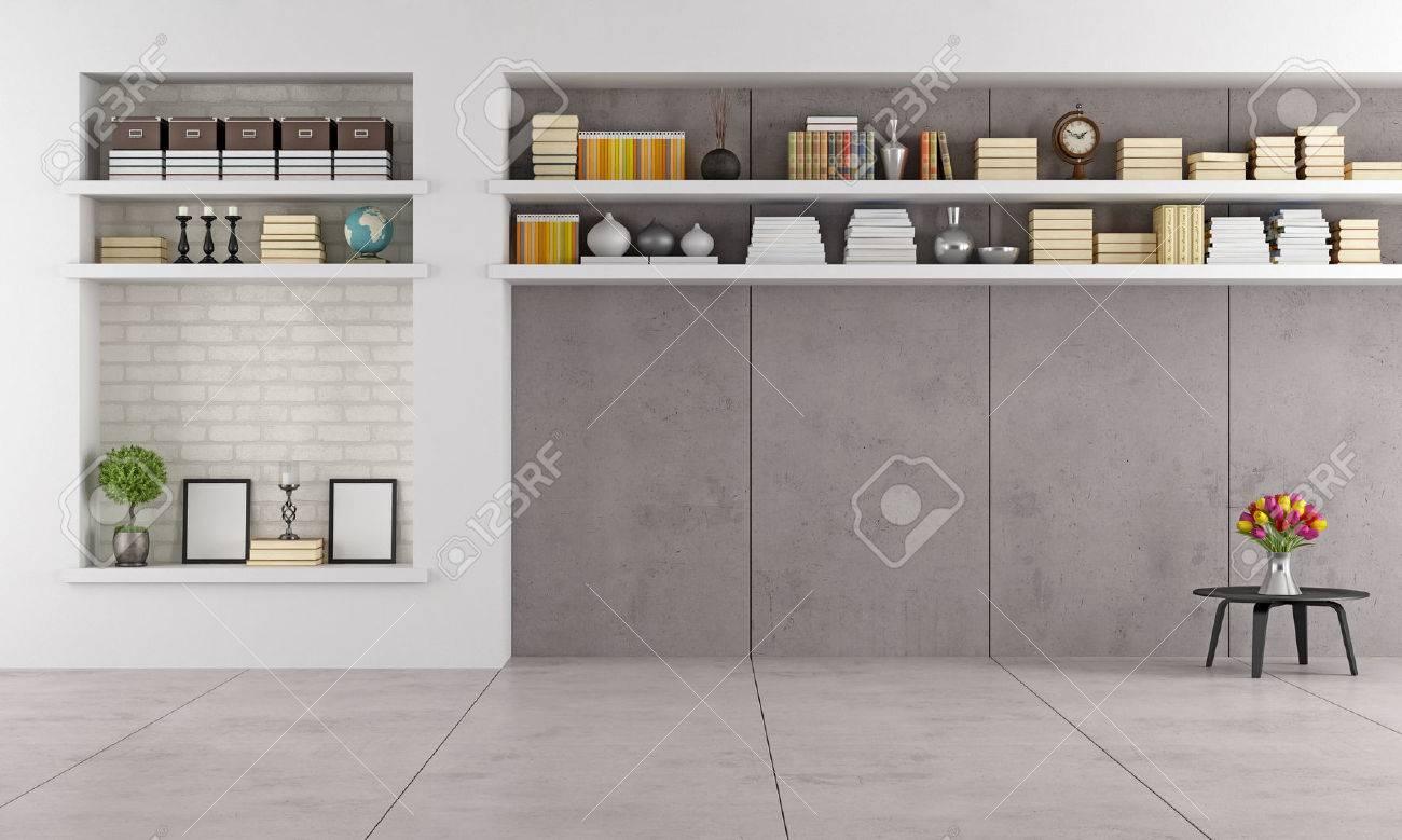 Moderne wohnzimmer witz nische und regale ohne möbel rendering lizenzfreie bilder 30563351