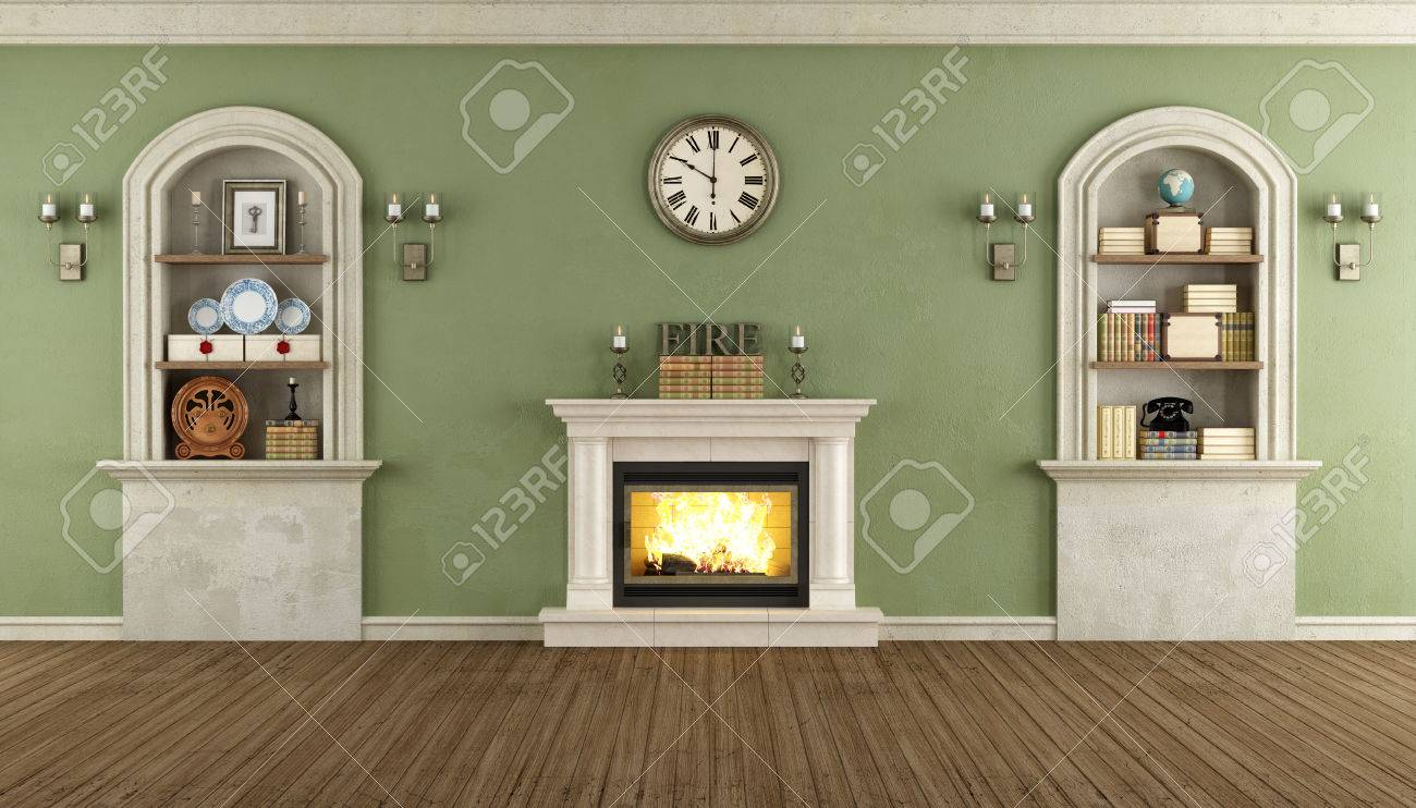 room in classic style with arched niches and fireplace rendering