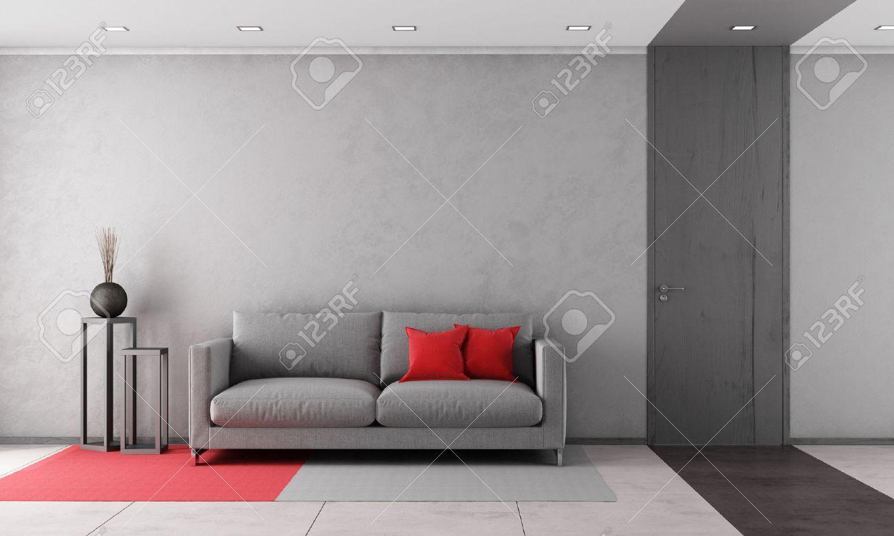 Zeitgenössische Wohnzimmer Mit Grauem Sofa Und Geschlossene Tür ...
