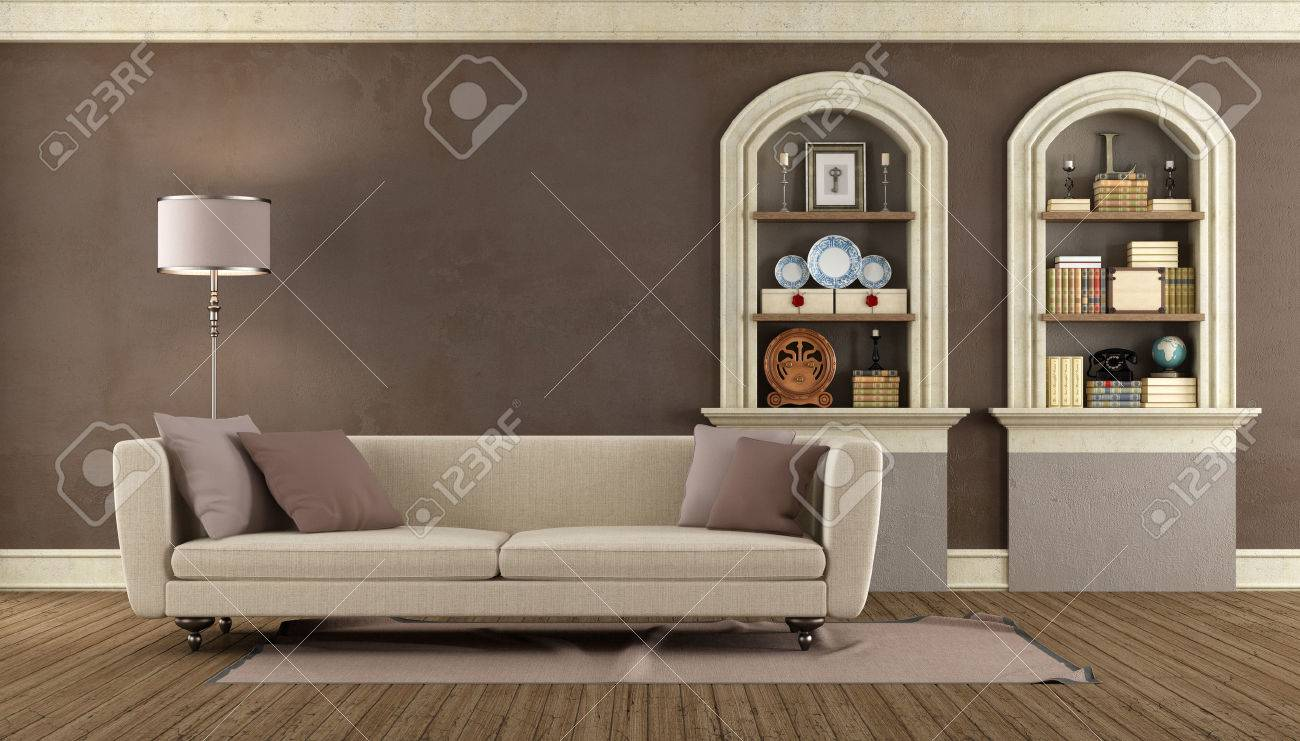 Stock photo vintage living room with modern sofa and arched niche rendering