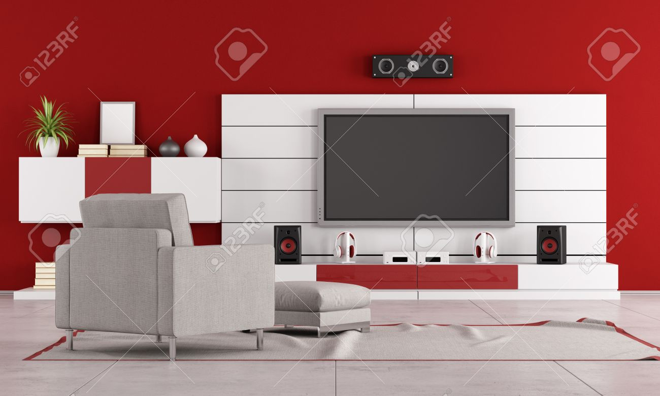 red living room with tv and armchair rendering stock photo