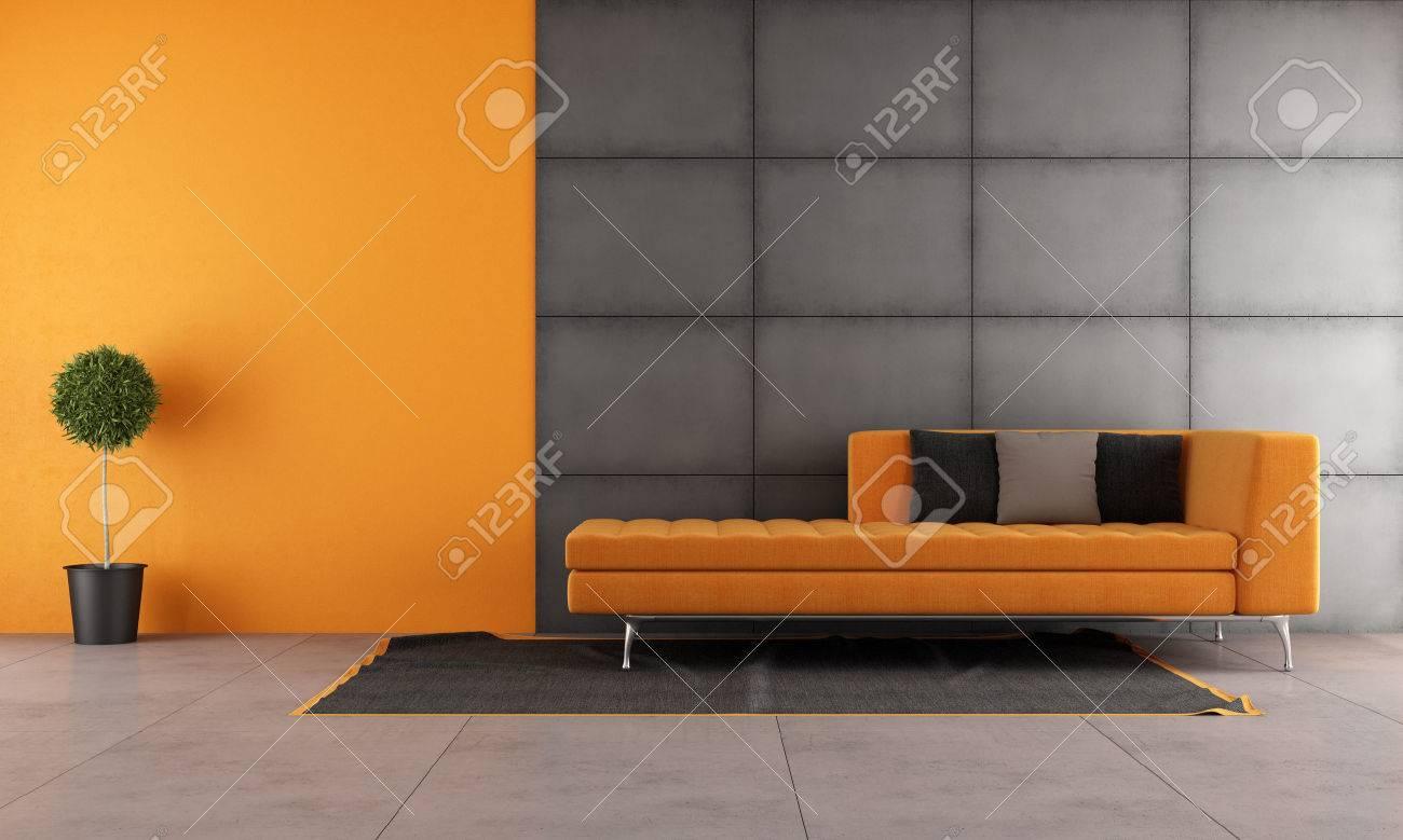 Schwarz Und Orange Wohnzimmer Mit Zeitgenössischen Sofa Lizenzfreie ...