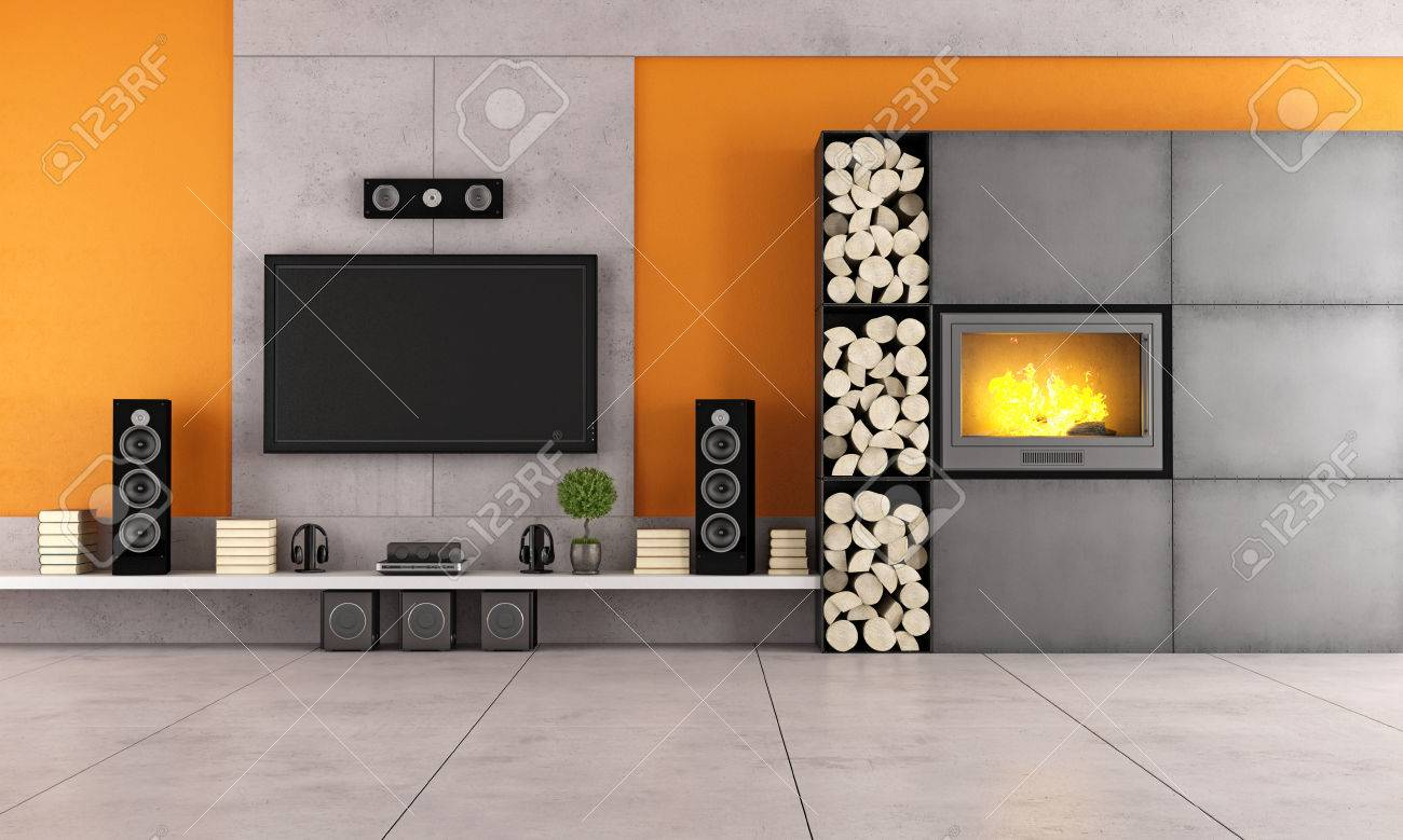 Contemporary living room with white wall unit and fireplace stock photo 32087427