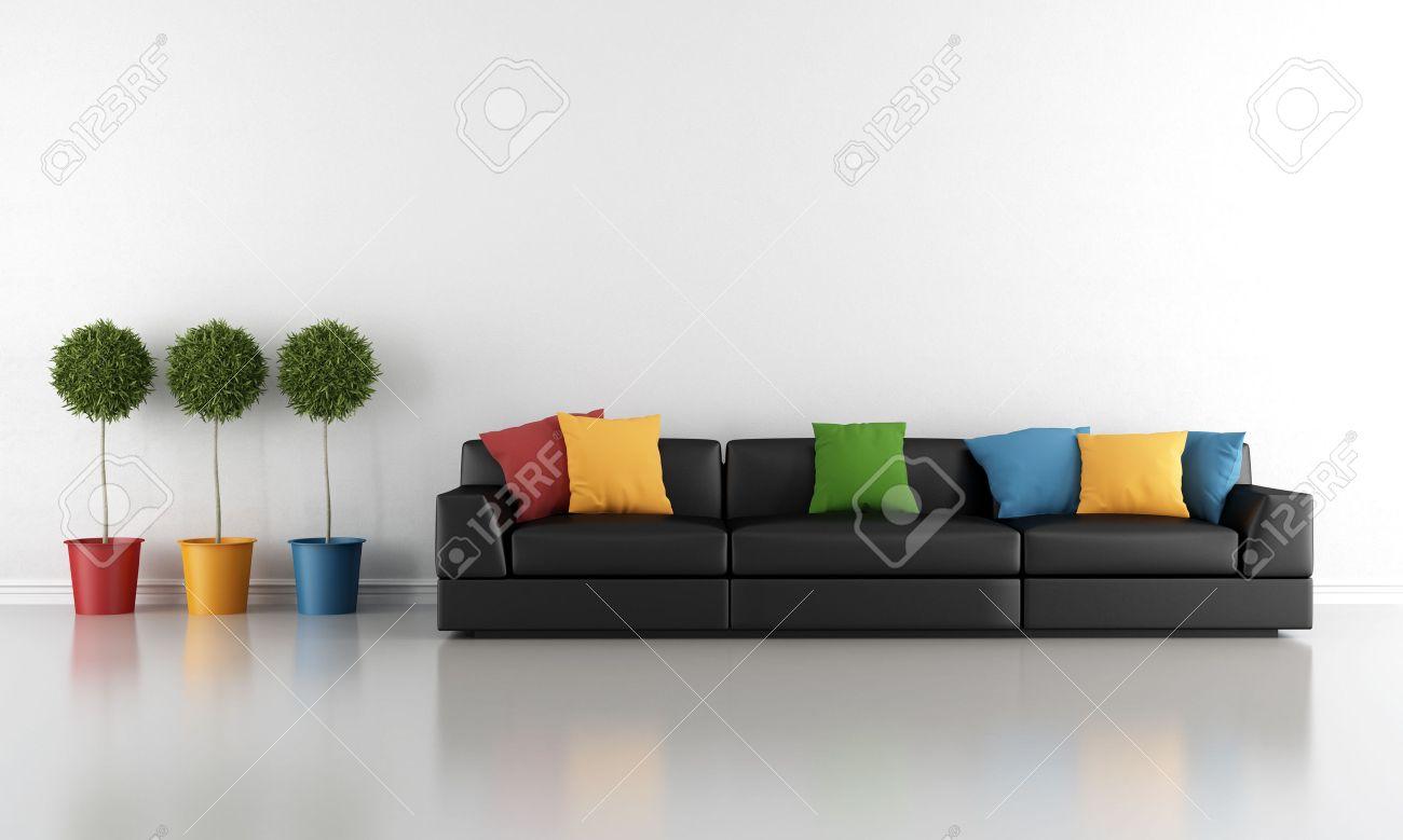 Moderne Wohnzimmer Mit Schwarzen Sofa Und Bunten Kissen Lizenzfreie Bilder