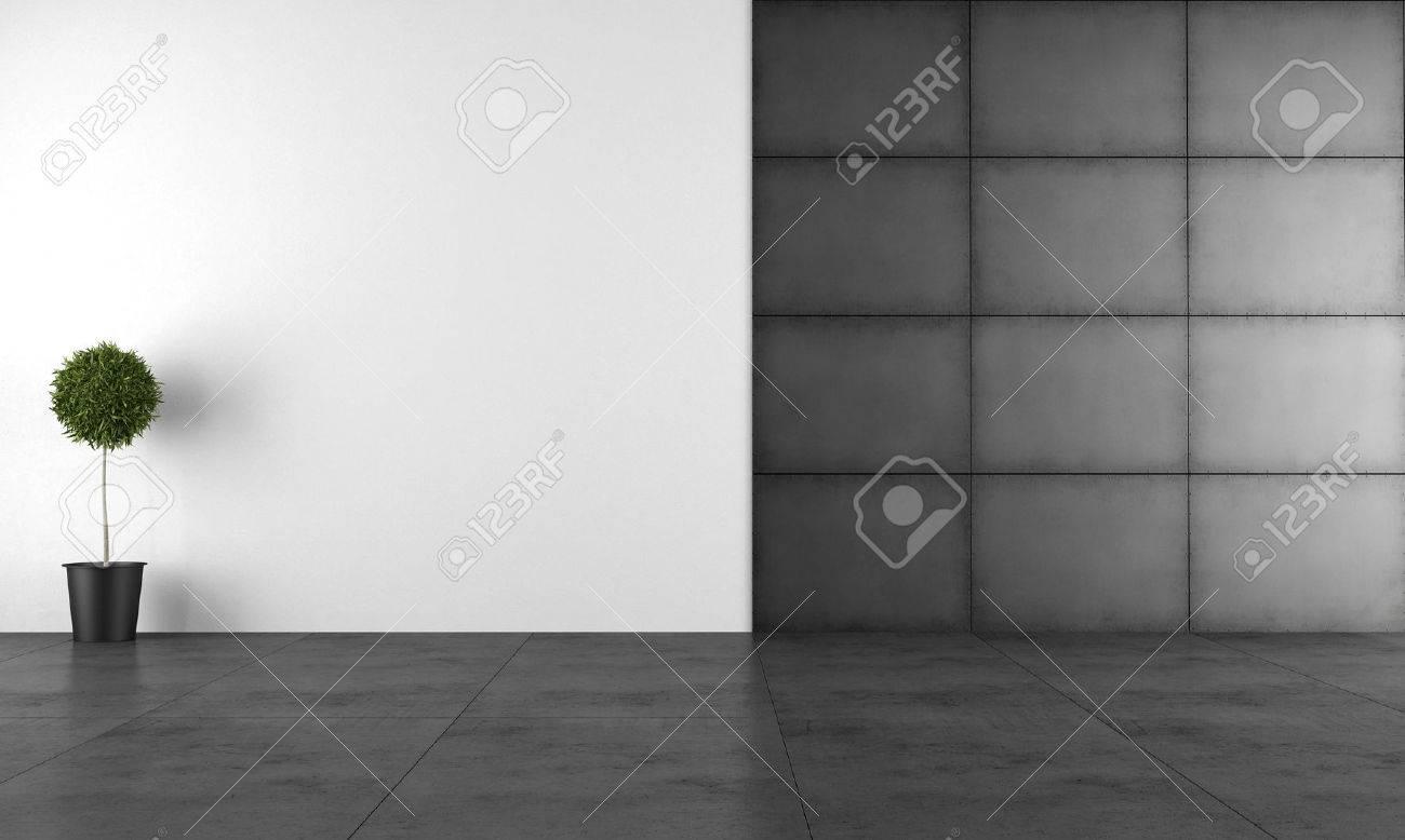 Chambre moderne noir et blanc avec panneau de fer et plancher de ...