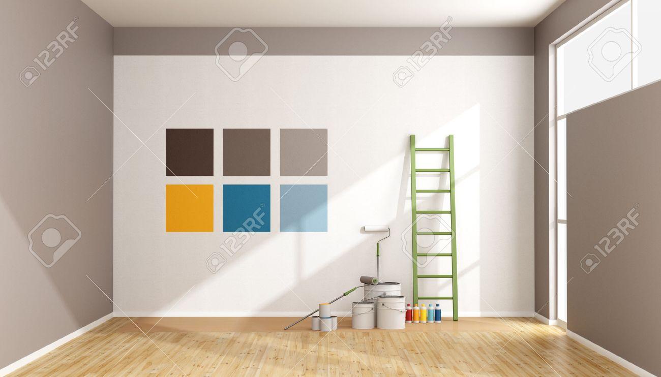 Sélectionnez Une Couleur Et De Peindre Mur Dans Une Pièce Minimaliste Rendu