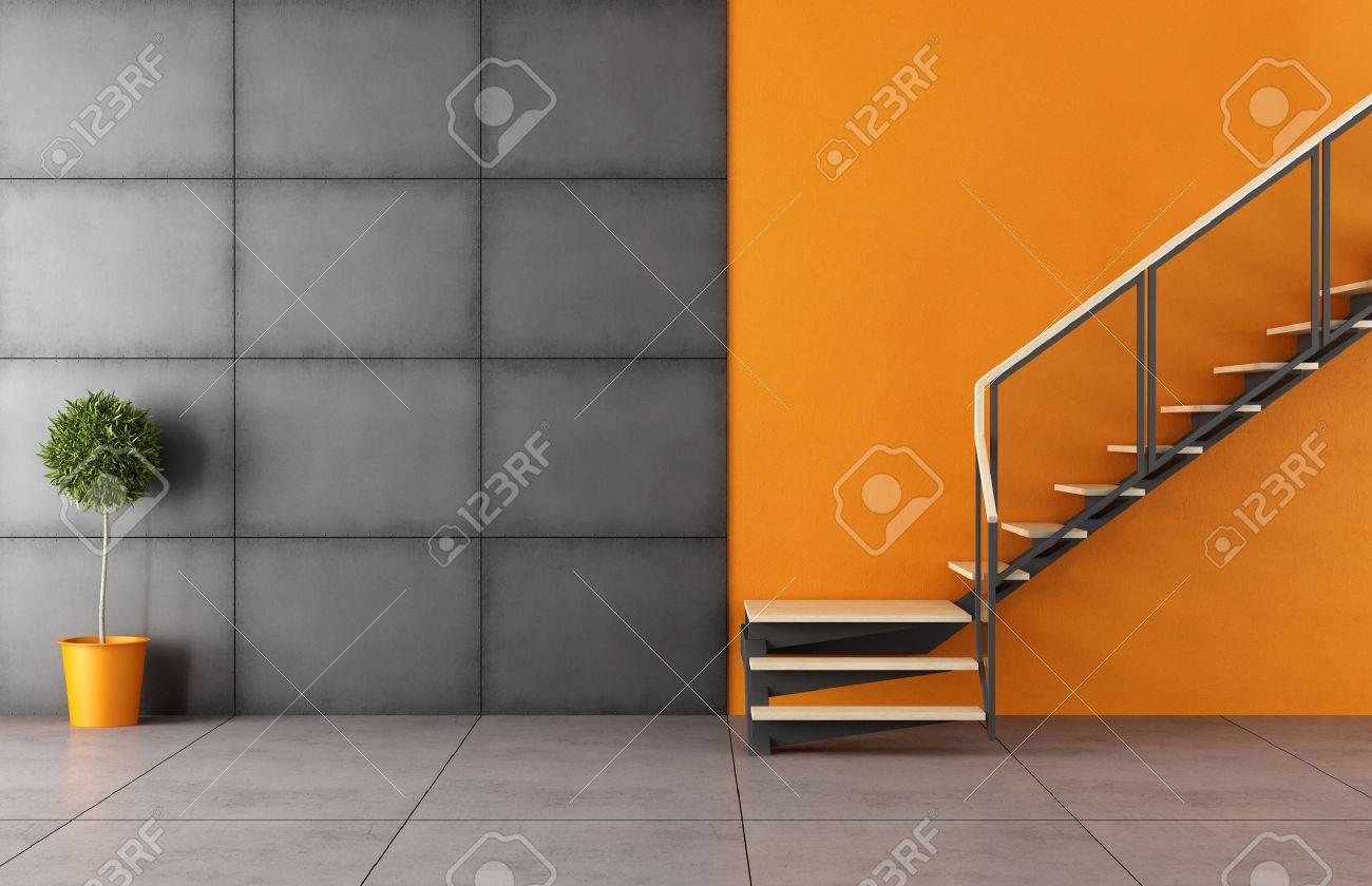 Cette chambre moderne avec escalier et panneau noir fer sans ...