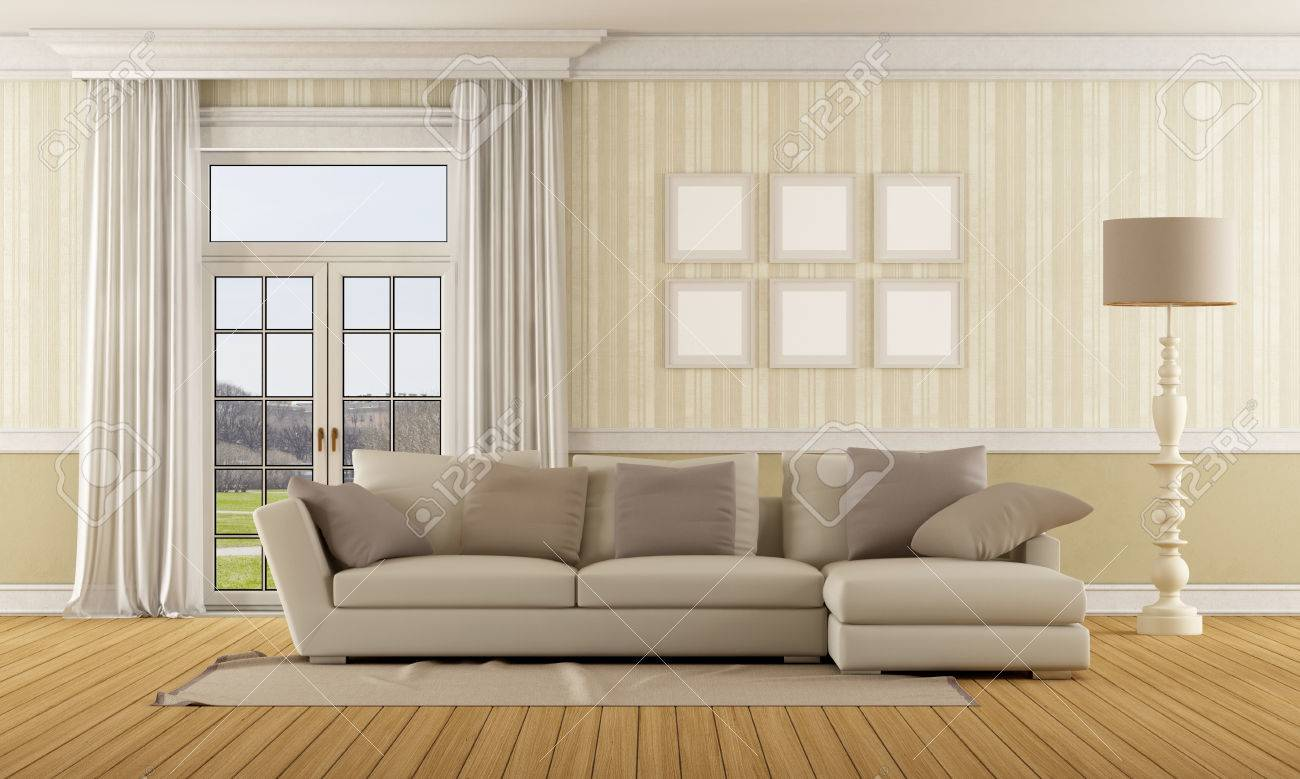 Classic living room with elegant sofa and closed window - 3D..