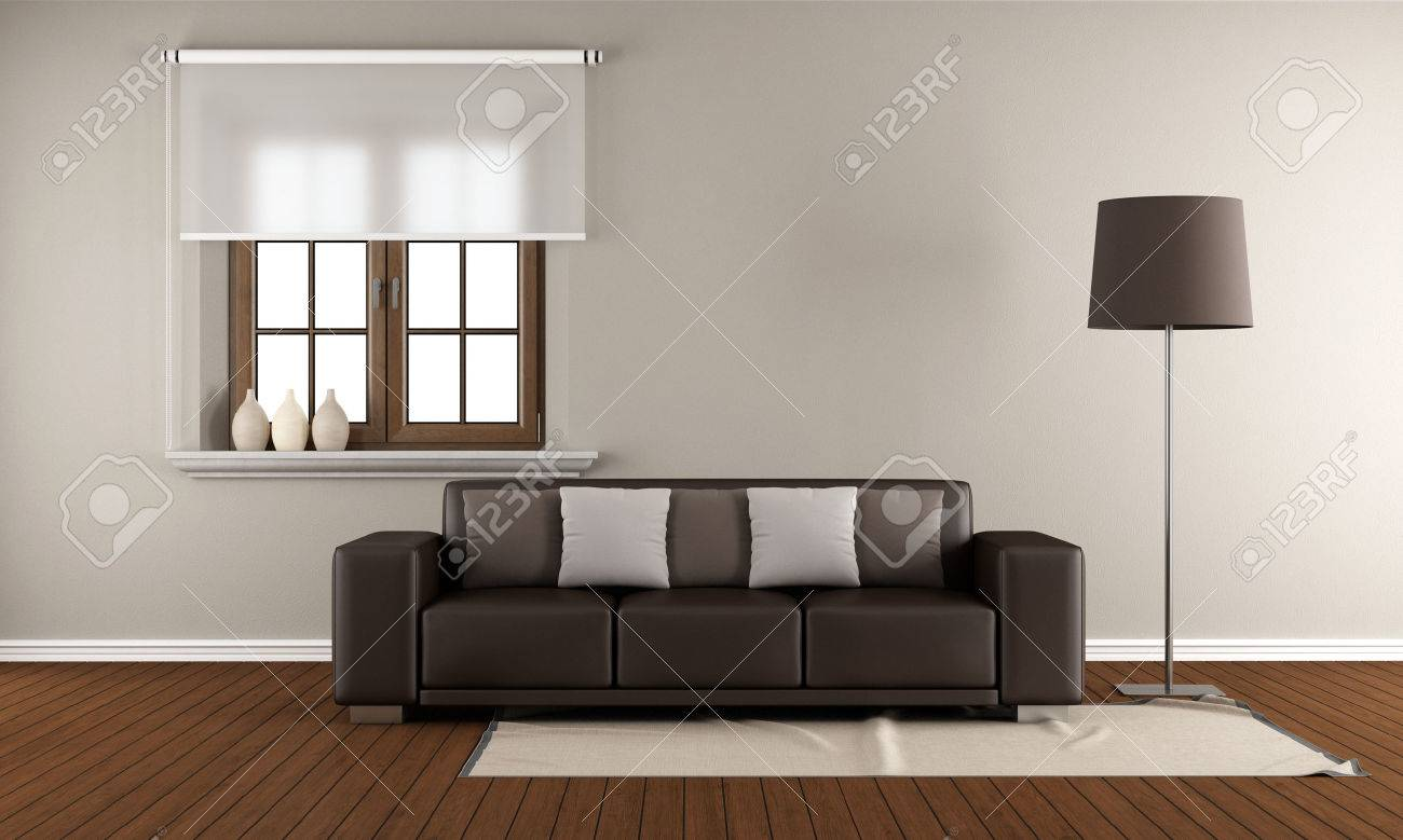 Modern Living Room With Wooden Window And Brown Sofa On Wooden Floor   3D  Rendering Stock