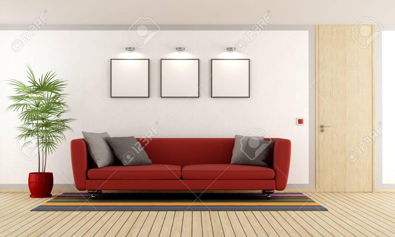 Salon Moderne Avec Un Canapé Rouge Et Porte Fermée En Bois - Rendu ...