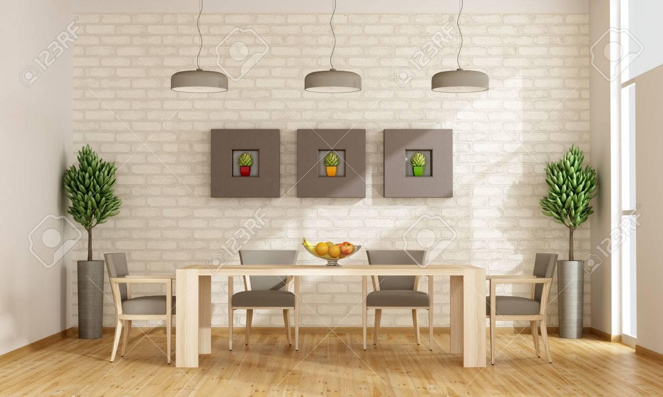 Comedor contemporáneo con mesa y sillas de madera - representación