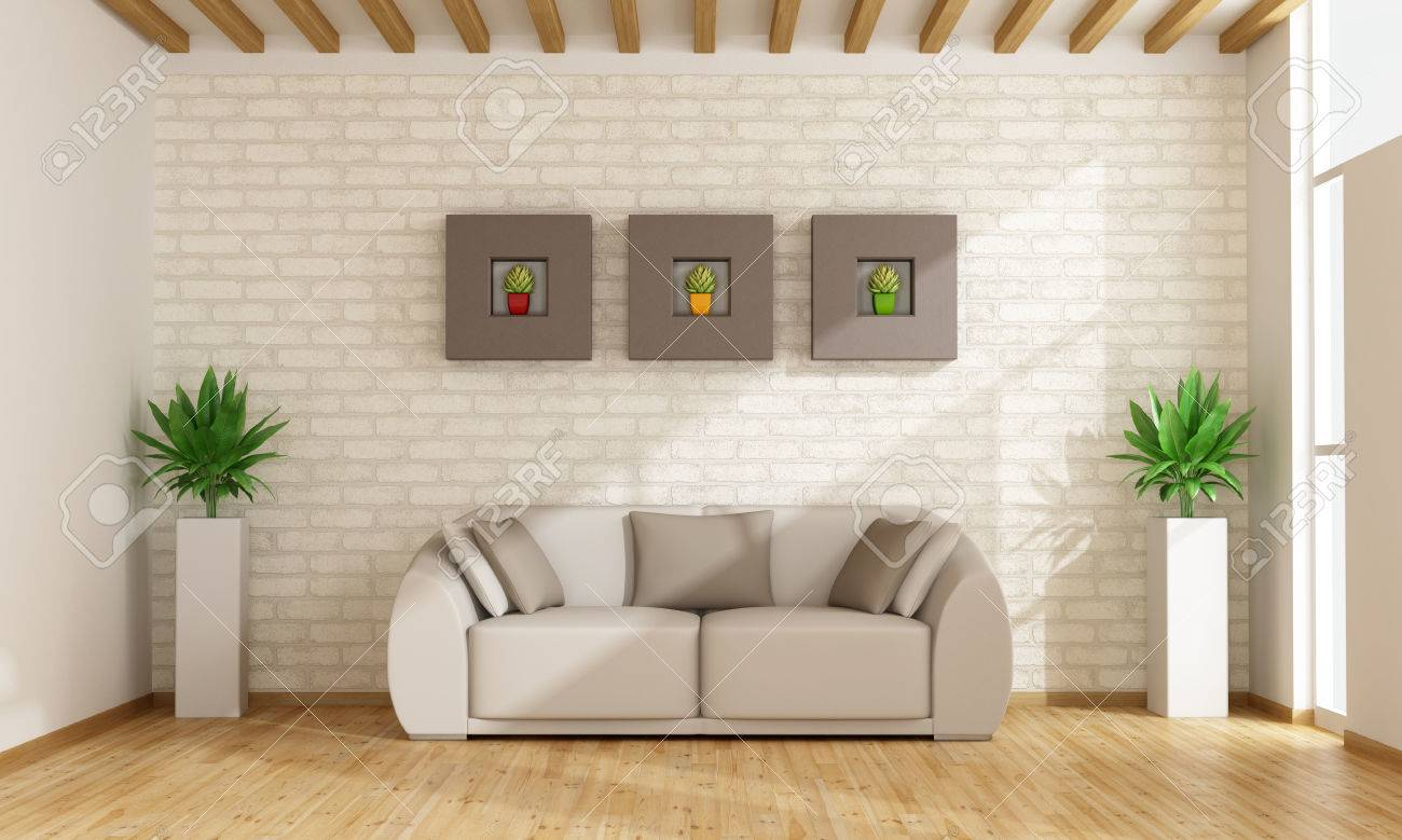 Contemporary Living Room With Sofa Against Brick Wall