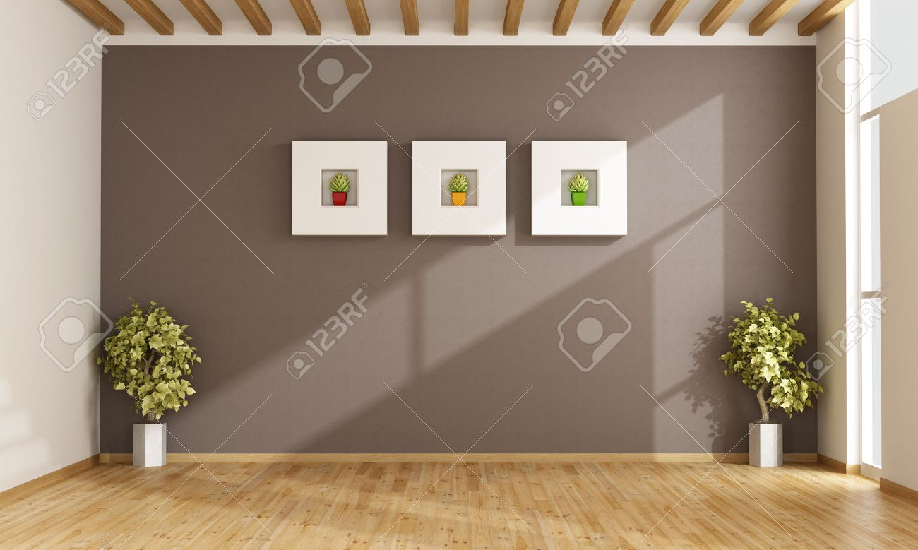 Leere Wohnzimmer Mit Braunen Wand, Fenster Und Parkett - 3d ... Braune Wand Wohnzimmer