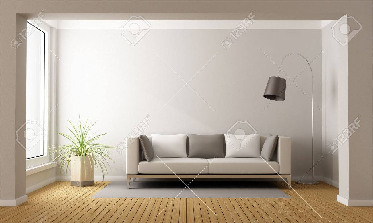 Minimalist Living Room With Sofa On Carpet - 3D Rendering Stock ...