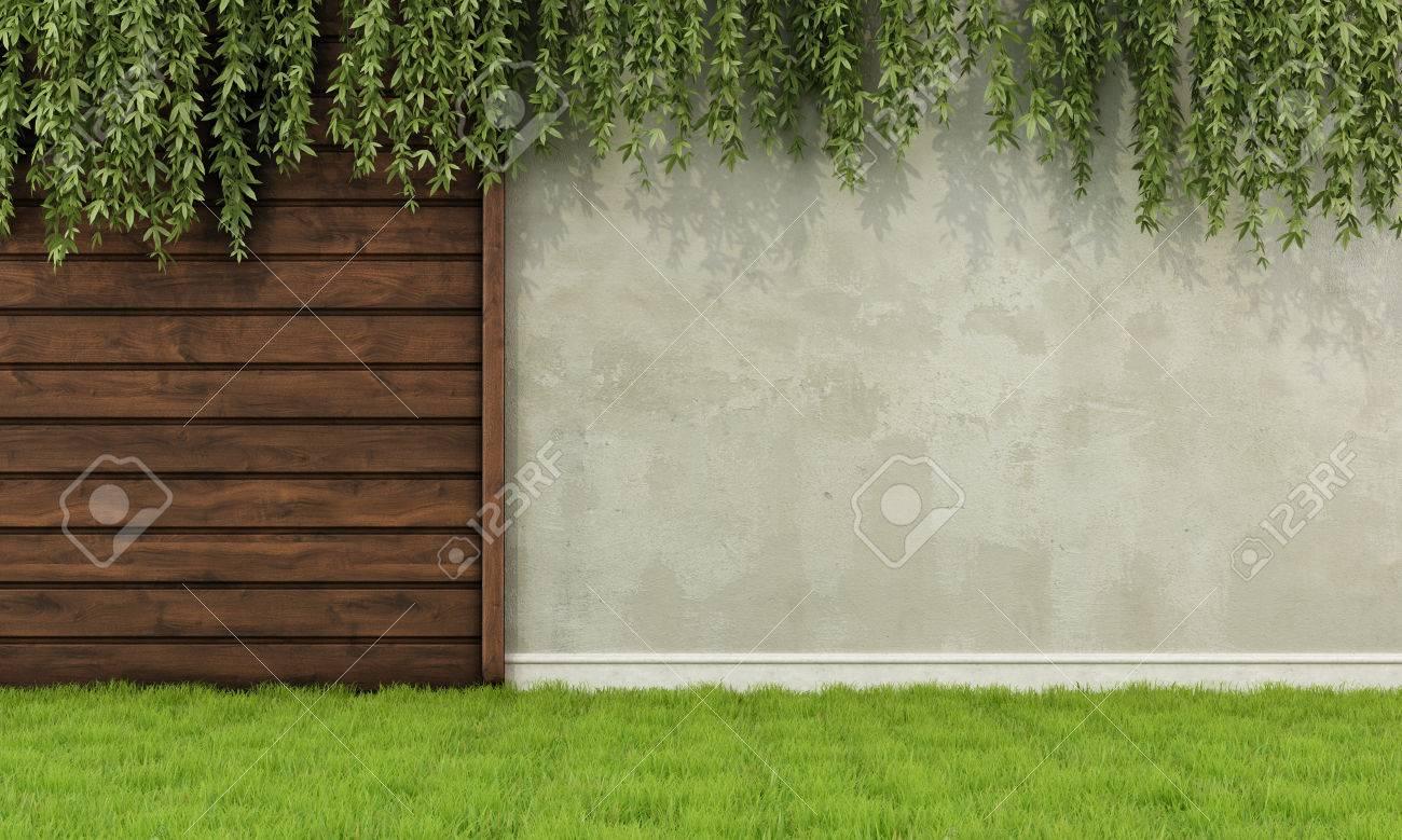 Jardin Avec De Vieux Cloture Et Mur En Bois Rendu 3d