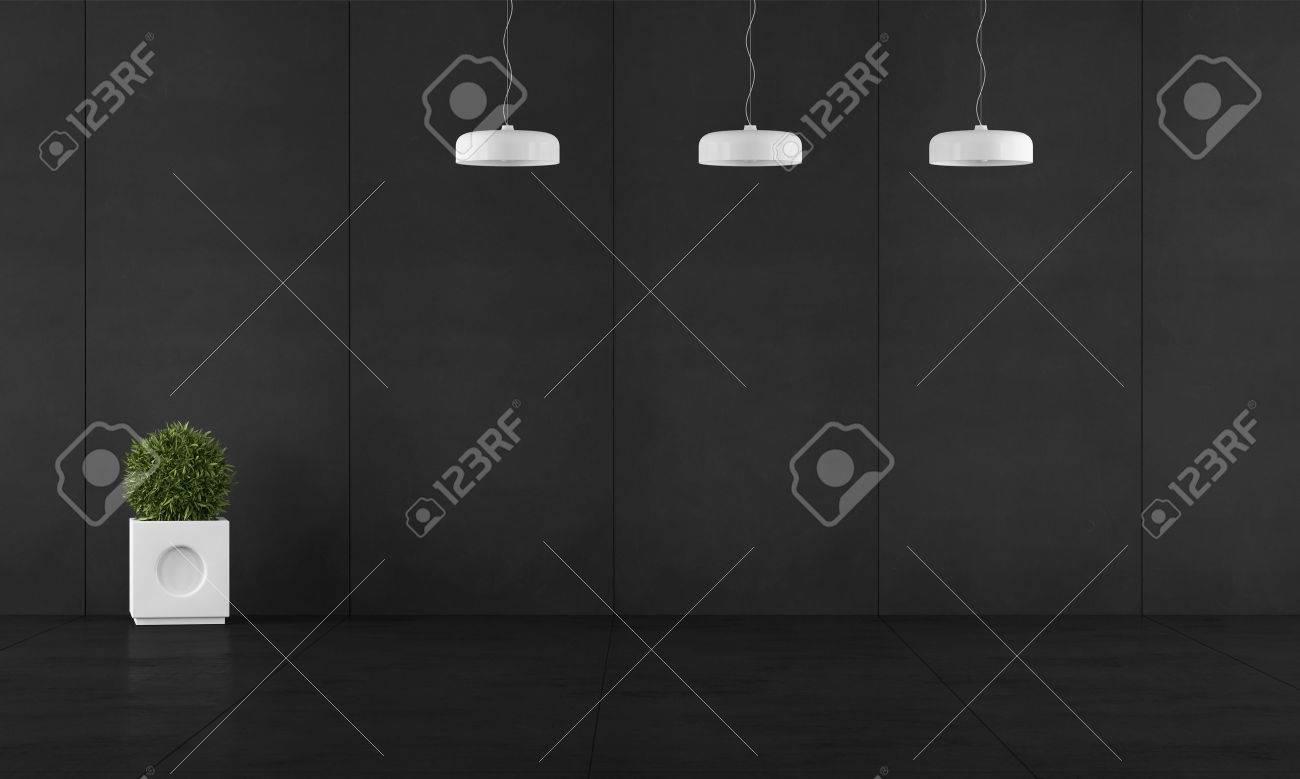 Chambre Noire Avec Un Tableau Noir Mural Lambris, Lustres Et ...