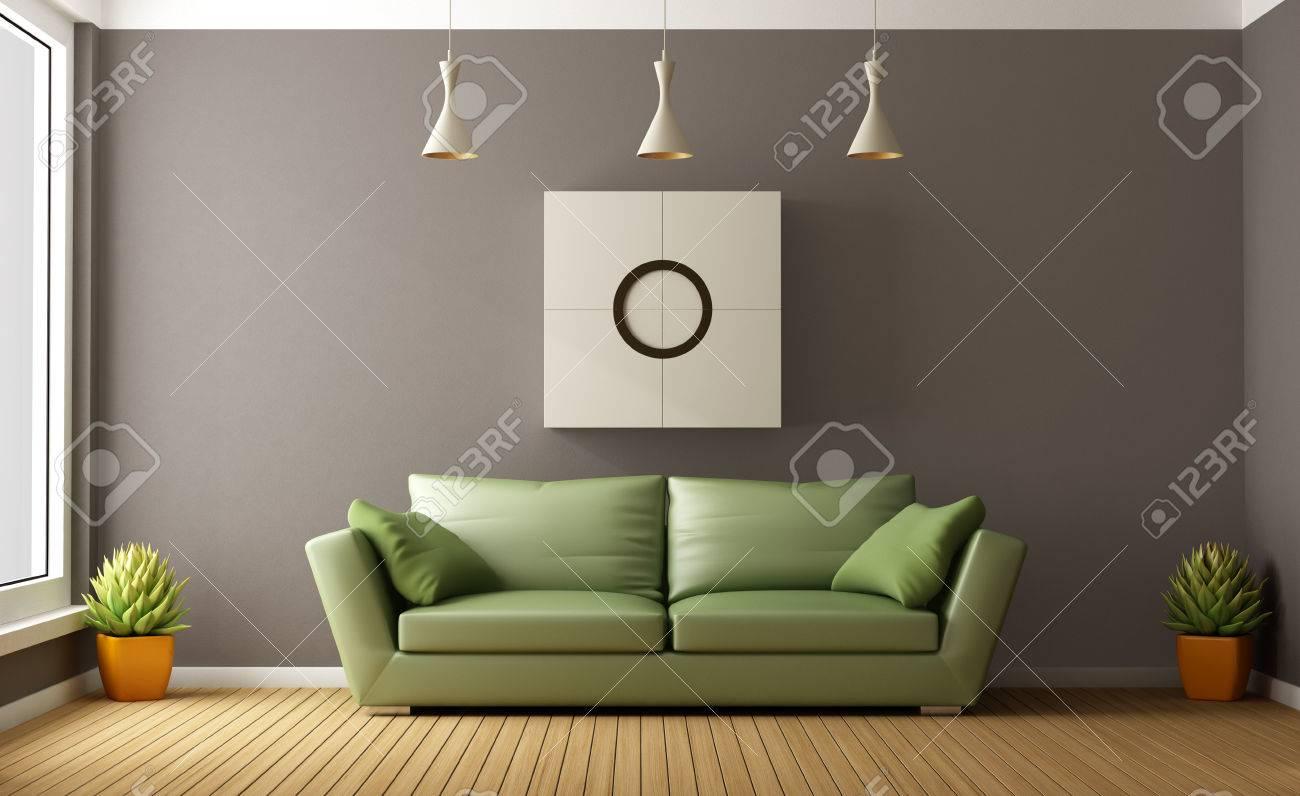 Moderne Salon Avec Un Canapé Marron Vert - Rendu 3D Banque D\'Images ...