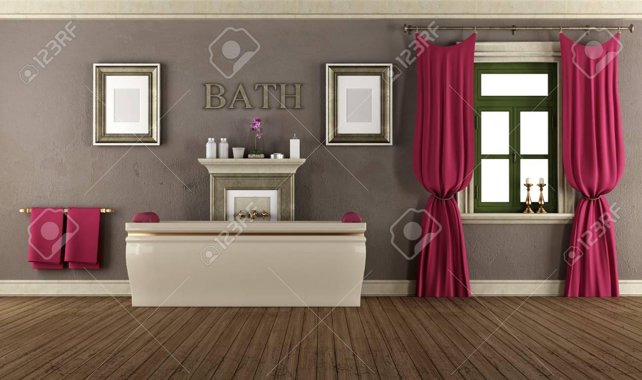 Luxury Bathroom In Old Style Whith Elegant Bathtub,window And ...