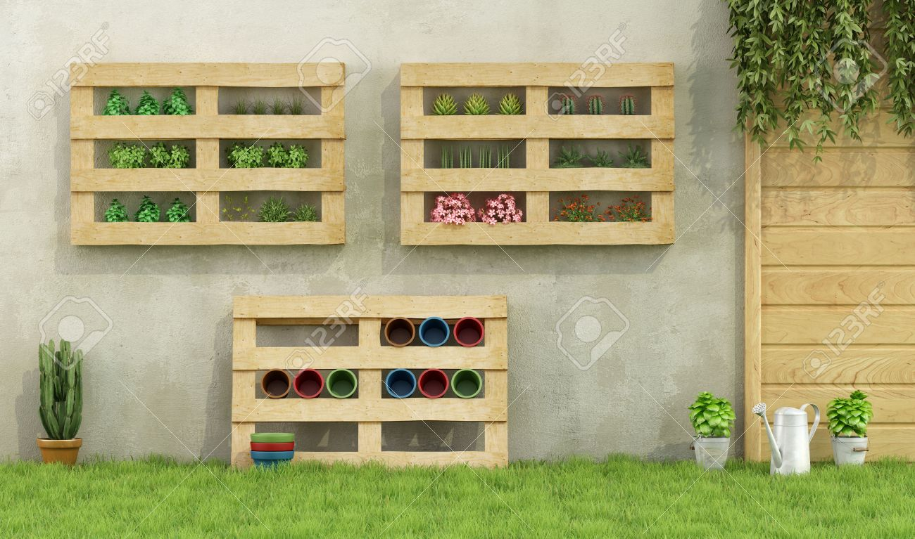 Garden With Planters Made Of Recycled Wooden Pallets 3d Rendering