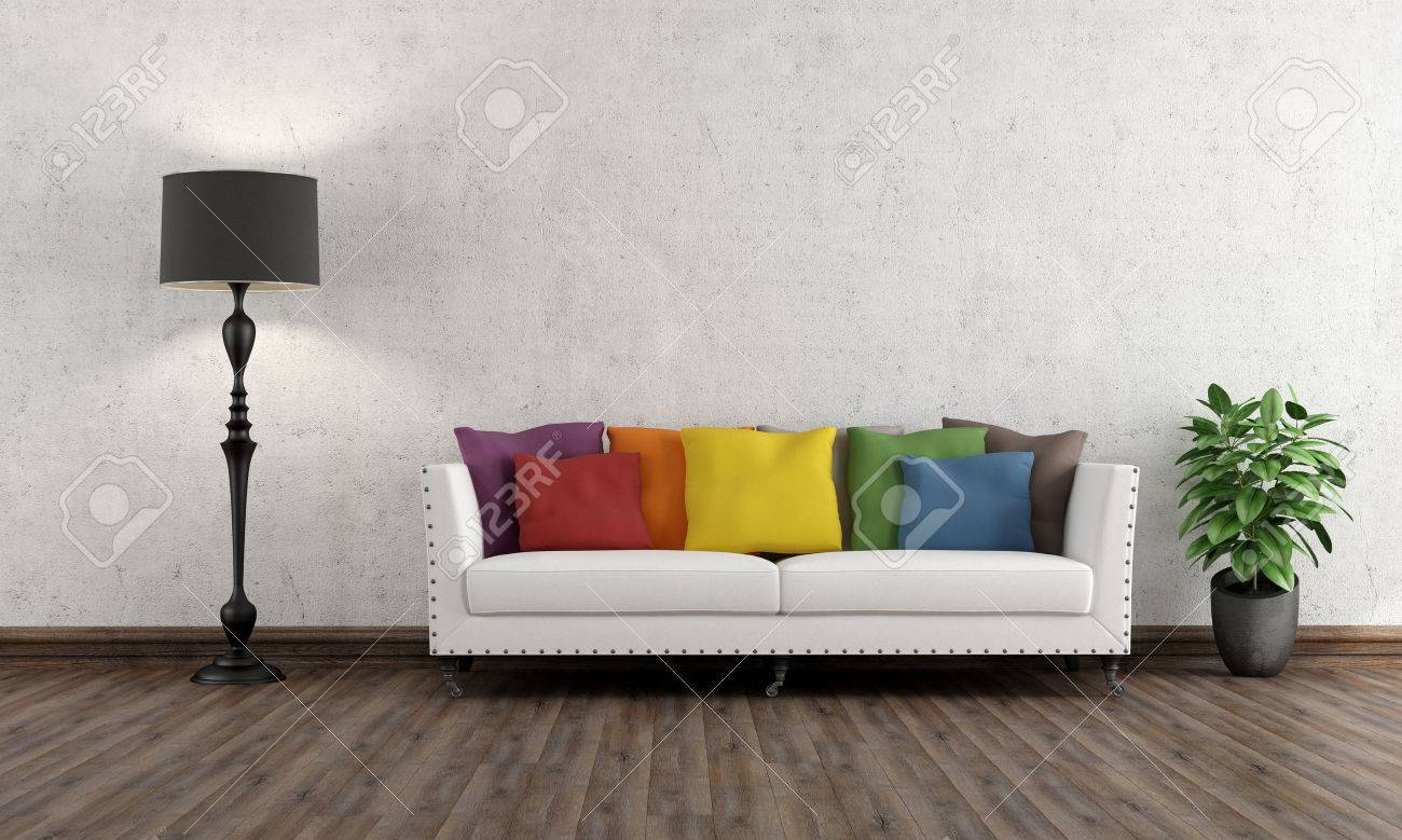 retro living room with colorful couch on wooden floor - 3d