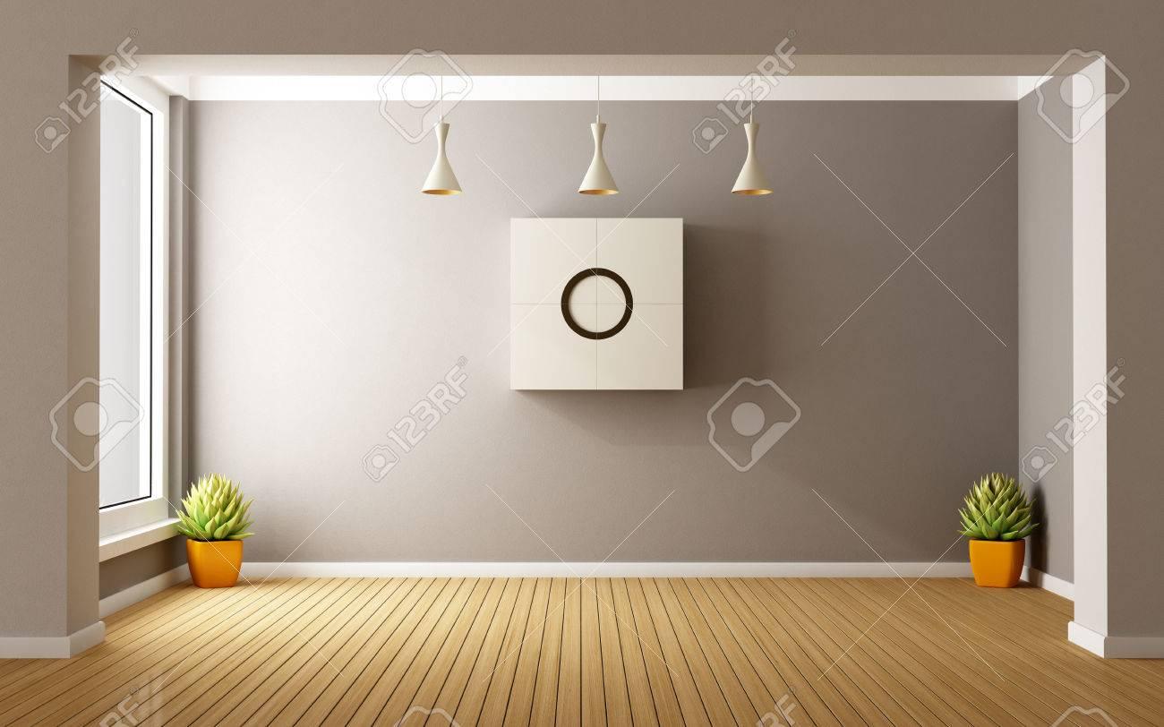 Chambre Moderne Vide Avec Des Fenêtres Et L\'armoire Sur Le Mur ...