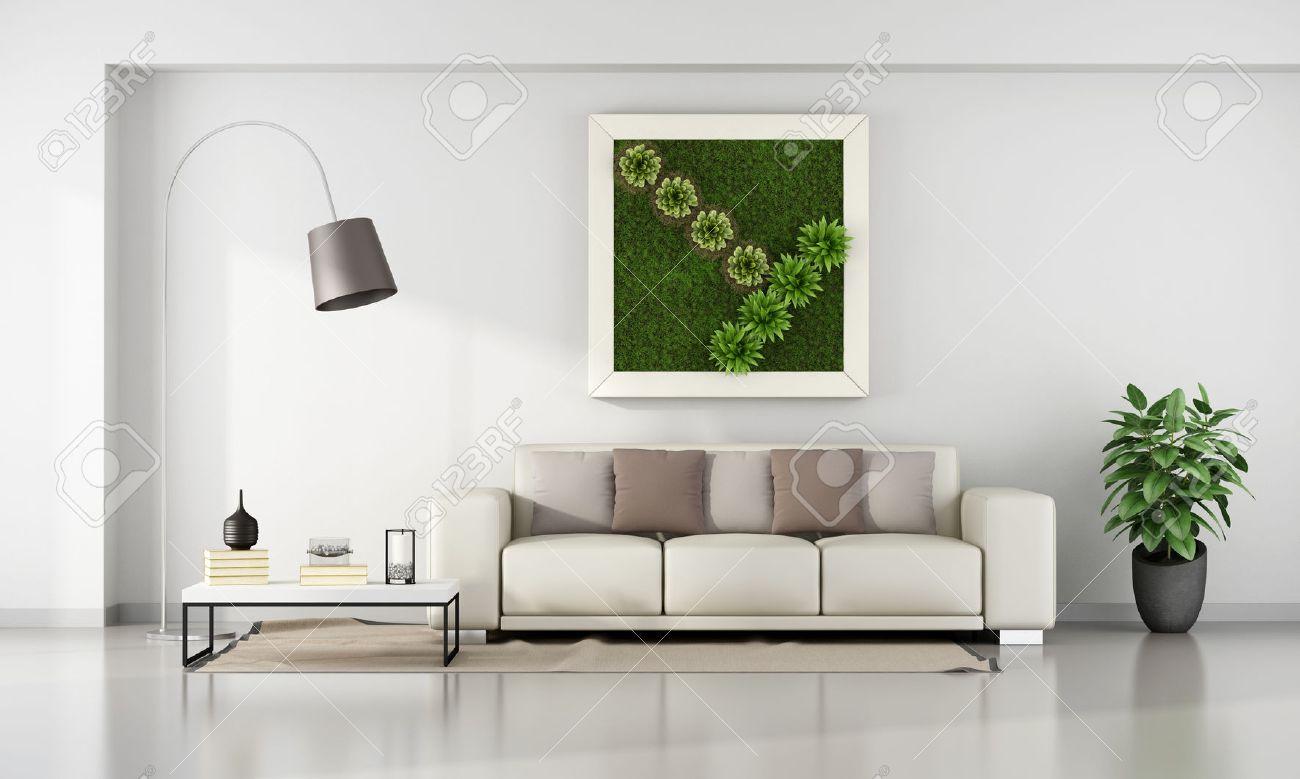 Minimalistiskt vardagsrum med vertikal trädgård i ram på väggen ...