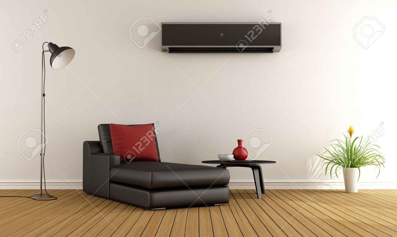 Awesome Minimalist Living Room With Couch And Air Conditioner On Wall   3D  Rendering Stock Photo