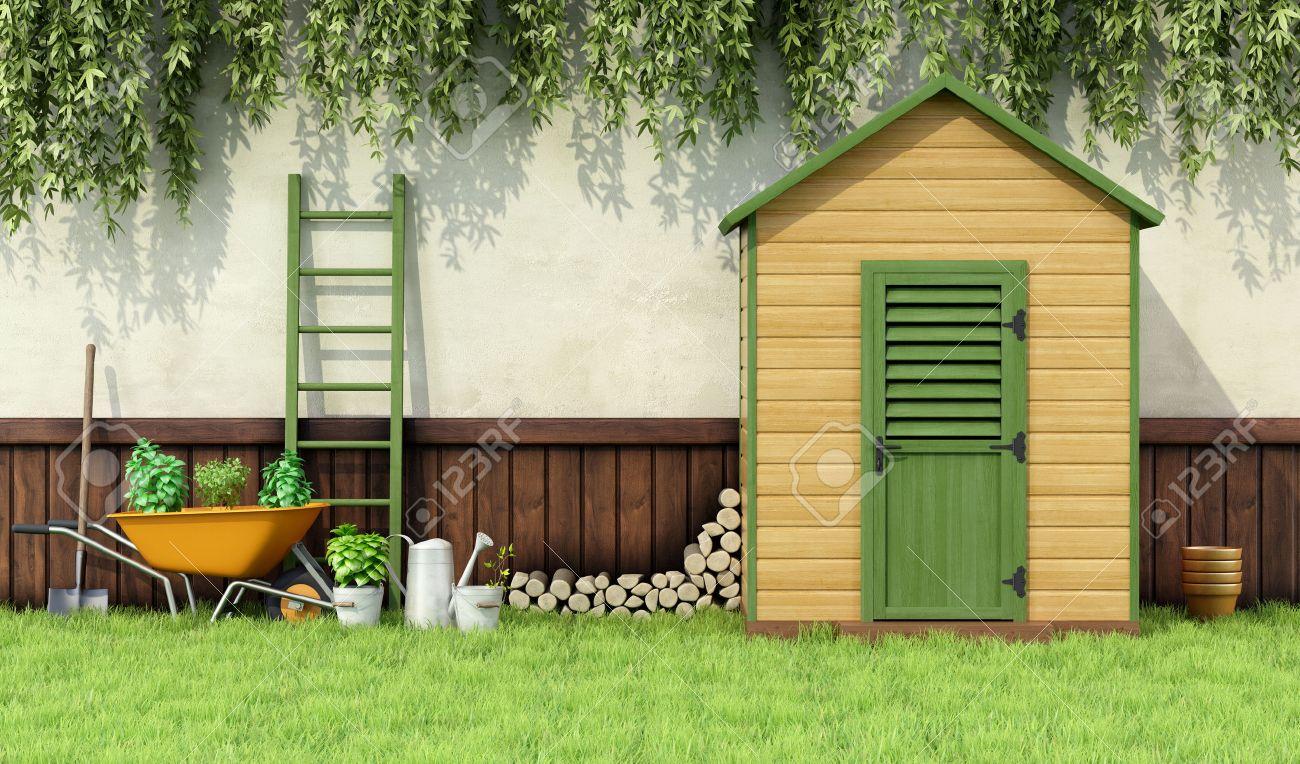 jardineria jardn con de jardinera y cobertizo de madera con la puerta cerrada