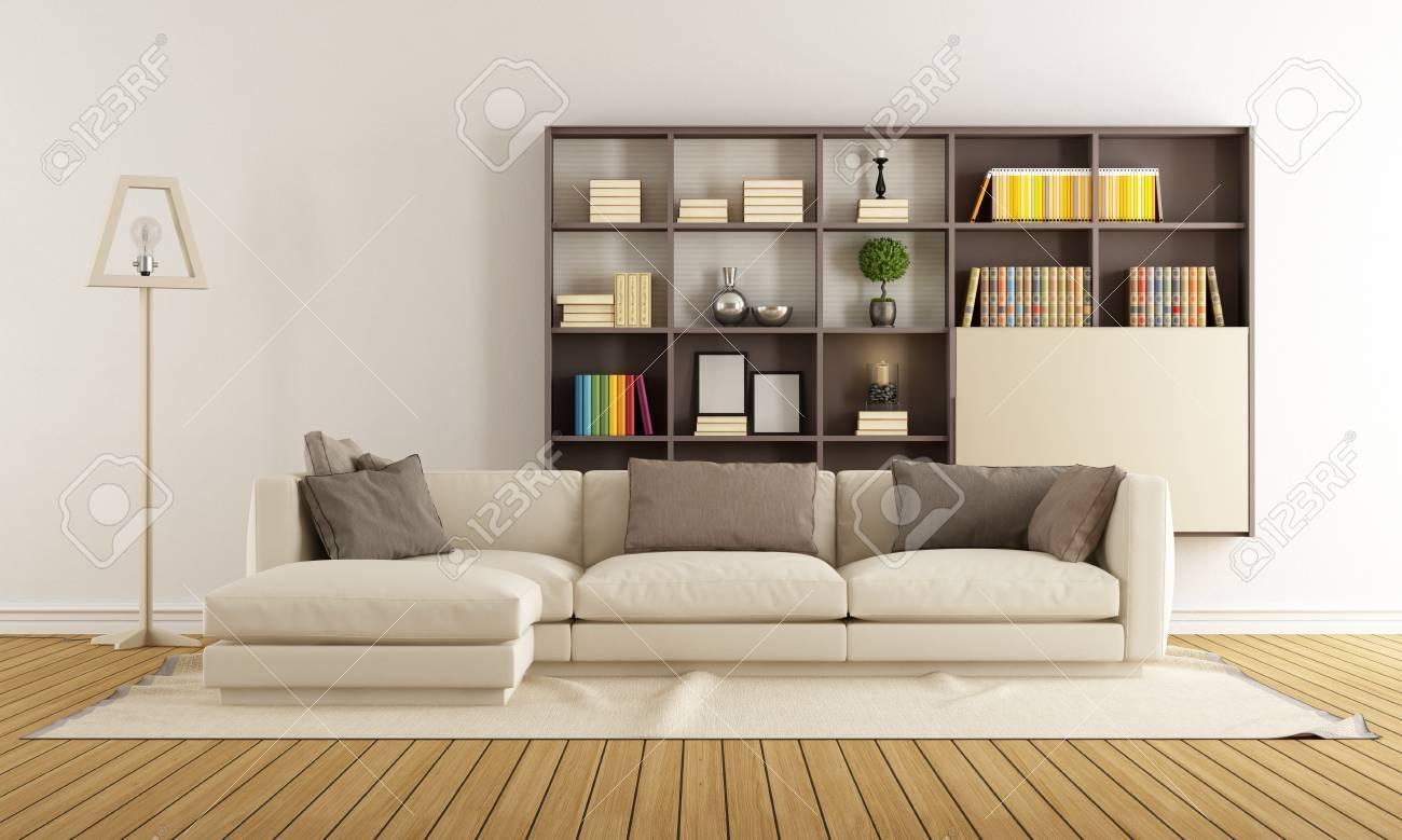 Zeitgenössische Wohnzimmer Mit Sofa Und Moderne Bücherregal - 3D ...