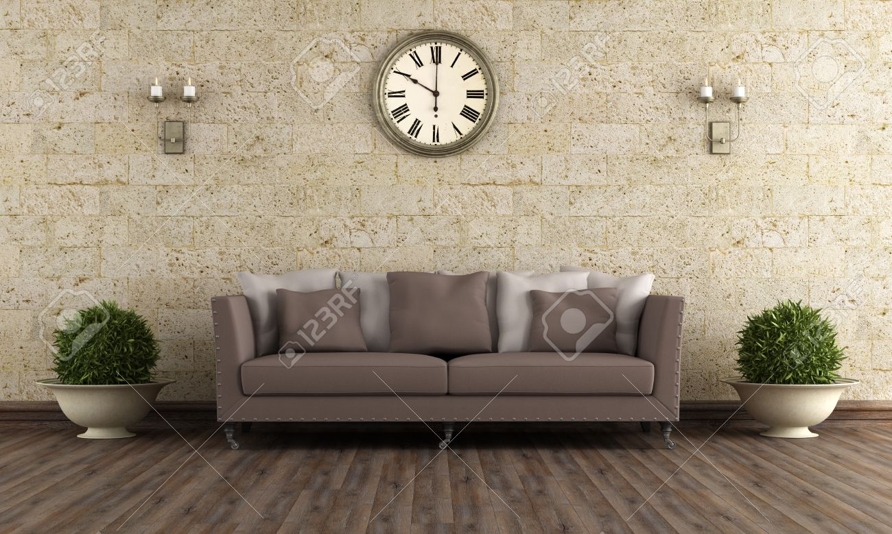 Classic Living Room With Brown Sofa Against Stone Wall - 3D ...