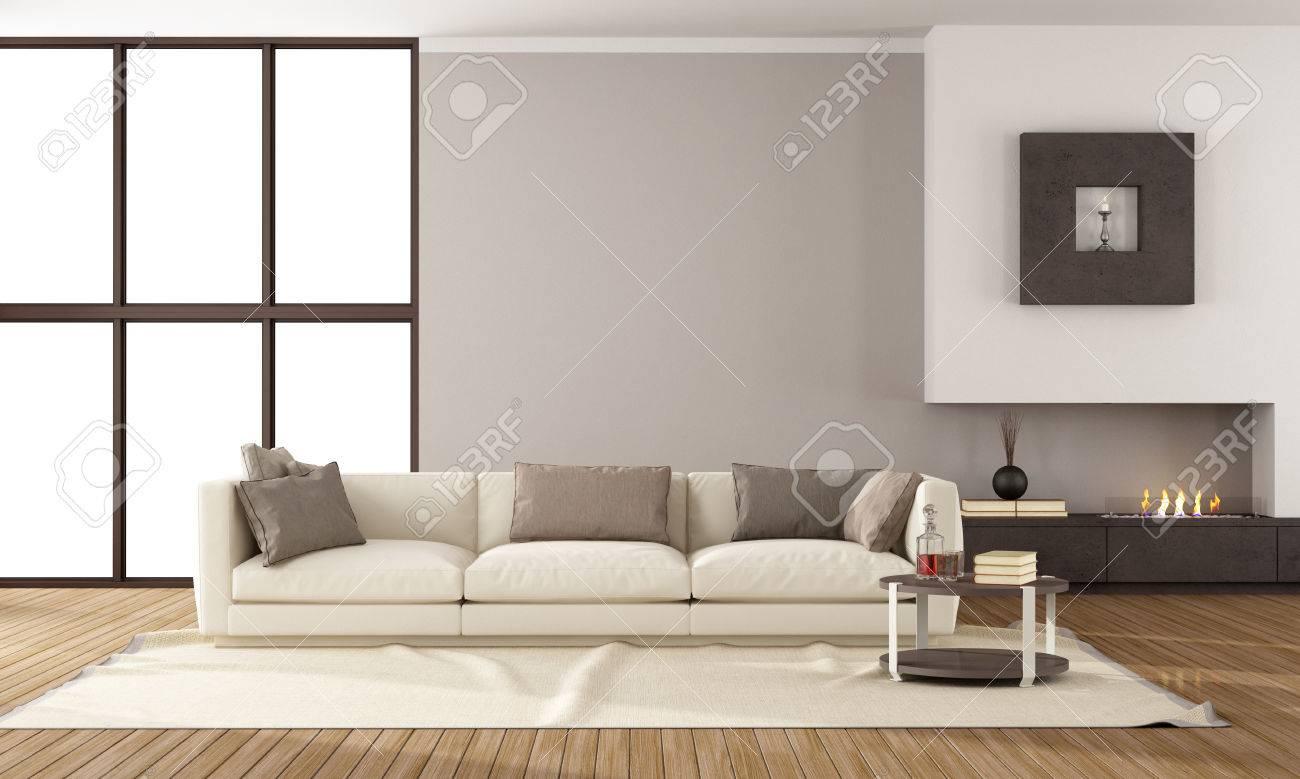 Minimalist Lounge With Fireplace And Elegante Sofa Stock Photo With Sofas  Elegantes.
