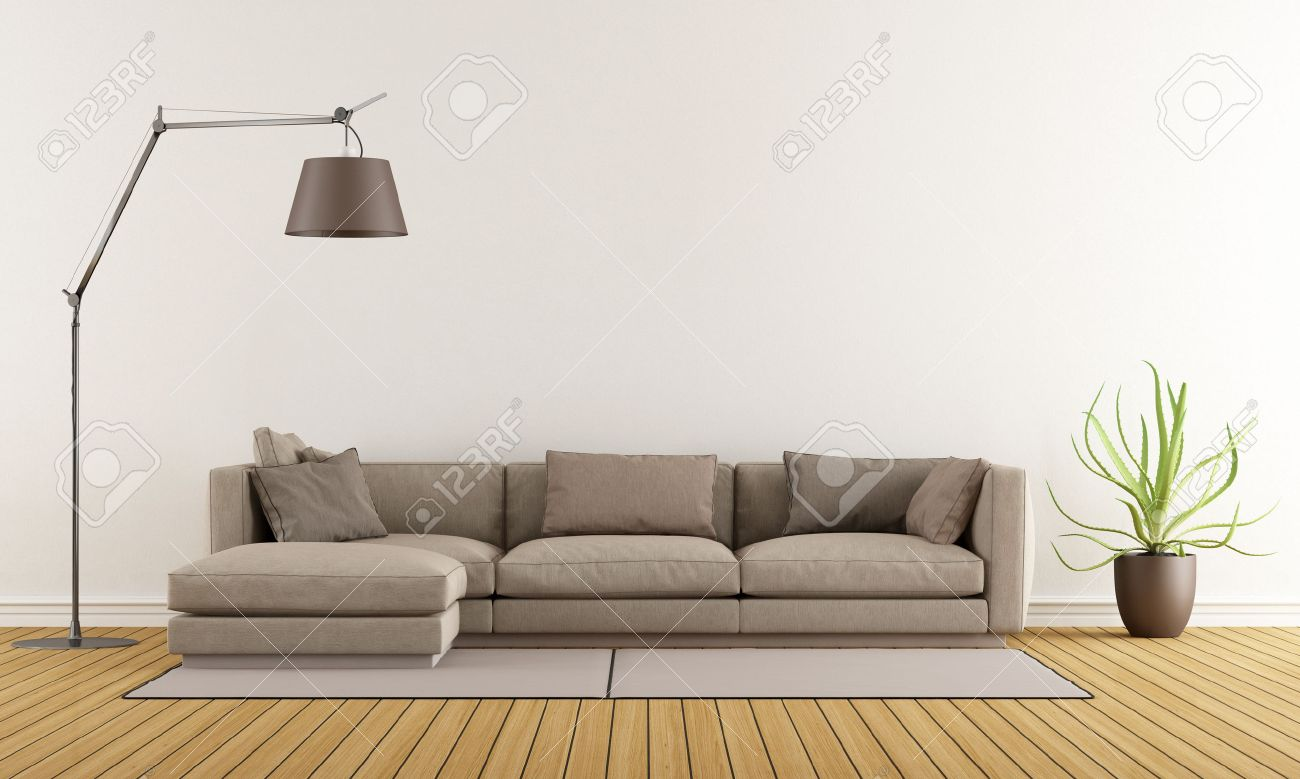 Modern lounge with brown sofa on carpet and floor lamp - 3D Rendering