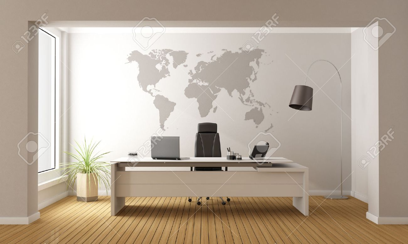 minimalist office furniture. Minimalist Office With Desk And World Map On Wall - 3D Rendering Stock Photo Furniture I