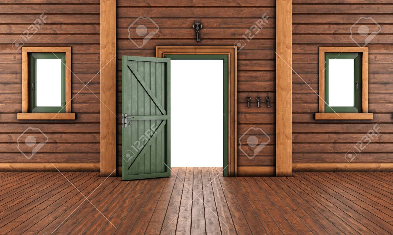 open front door. Empty Entrance Room Of A Wooden House With Open Front Door And Two Windows - 3D