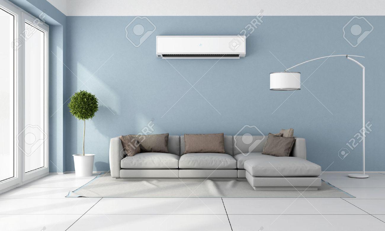 Salle De Séjour Avec Canapé Bleu Gris Et Climatiseur Sur Le Mur ...