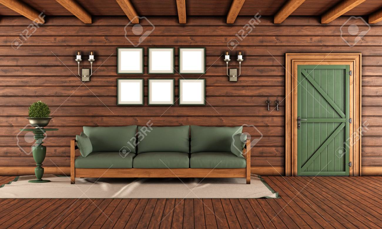 Terrific Living Room Of A Wooden House With Closed Front Door And Green Cjindustries Chair Design For Home Cjindustriesco