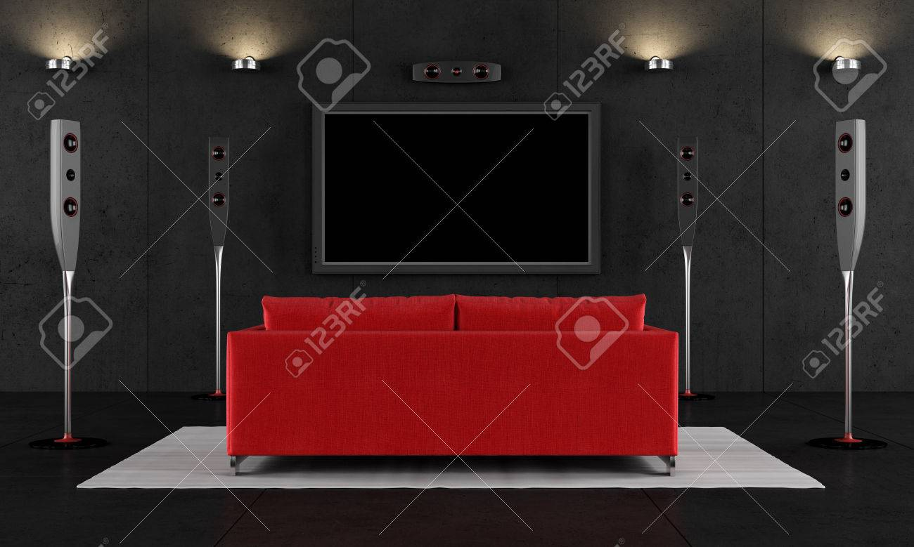 Contemporary Home Cinema With Red Sofa   3D Rendering Stock Photo   39377823