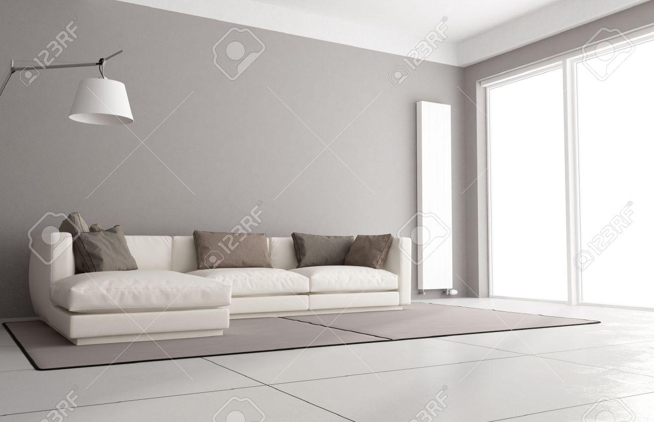 minimalistische wohnzimmer mit eleganten sofa, stehlampe und große ... - Grose Fenster Wohnzimmer