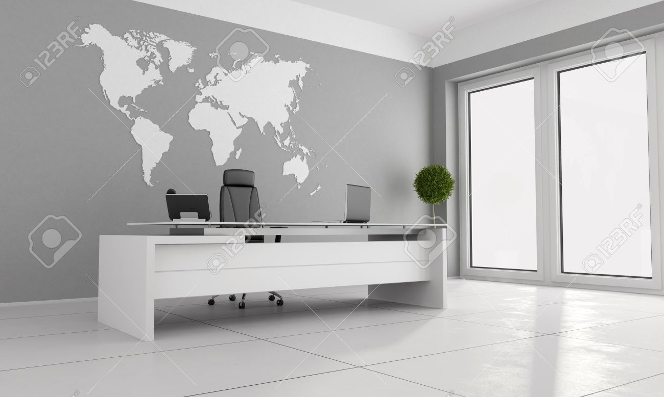 Minimalist Office With White Desk And World Map On Wall - 3D ...