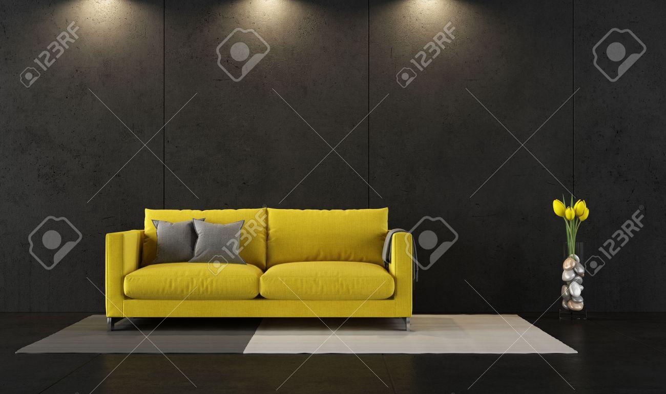 Schwarz Wohnzimmer Mit Zeitgenössischen Gelben Sofa - 3D-Rendering ...