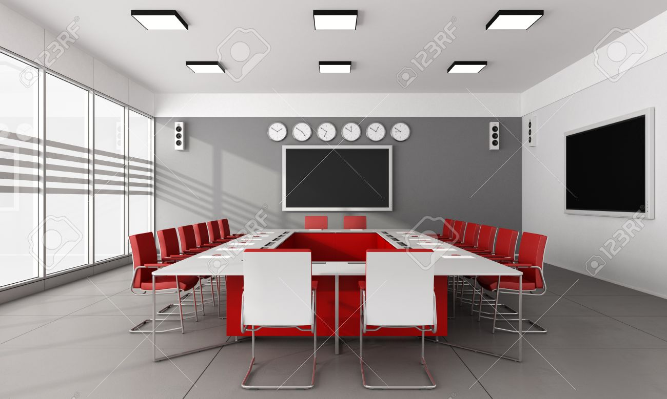 Contemporary Board Room With Large Meeting Table And Red Chairs - Red conference table
