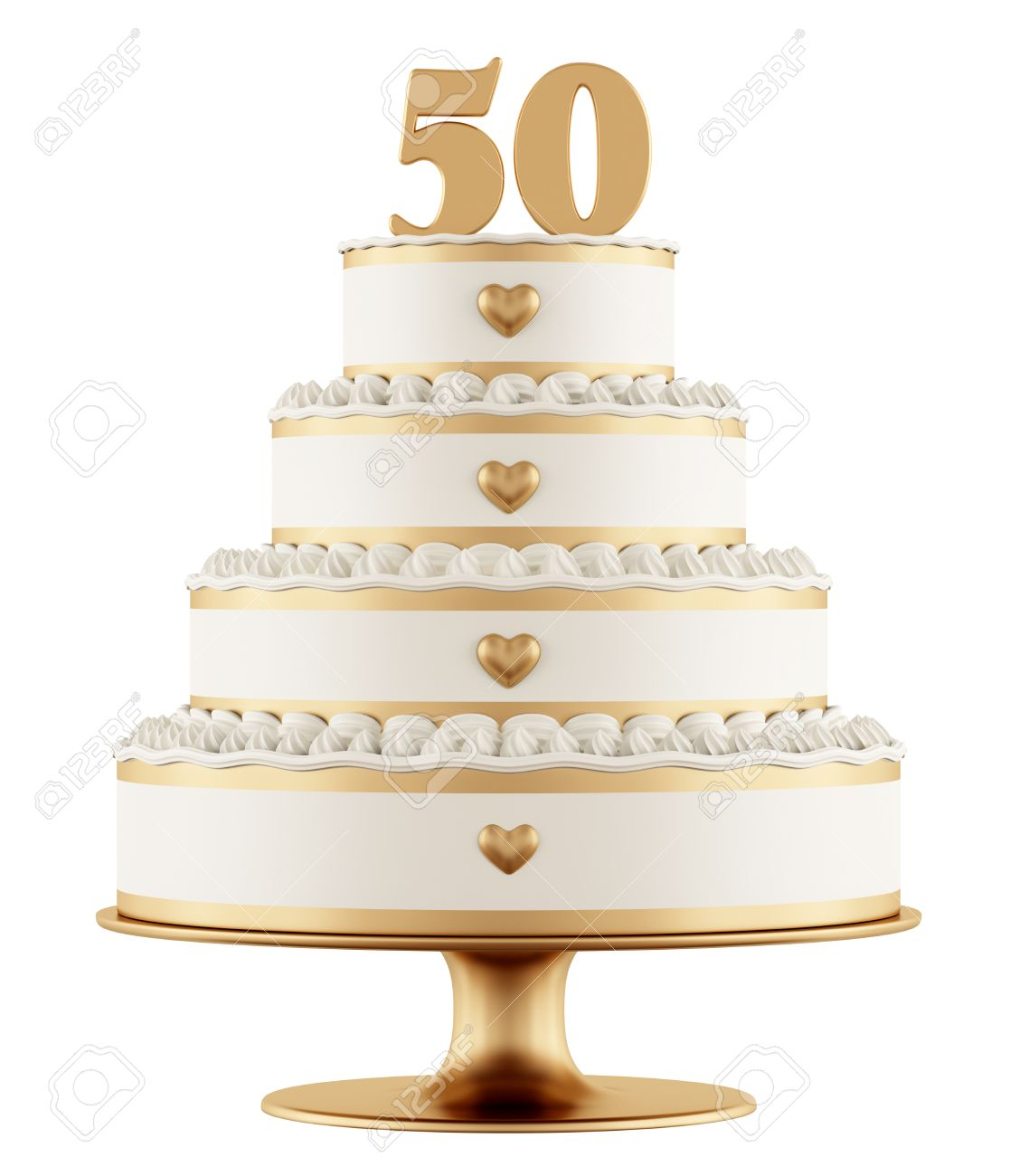 Golden Wedding Cake Isolated On White Background - 3D Rendering ...