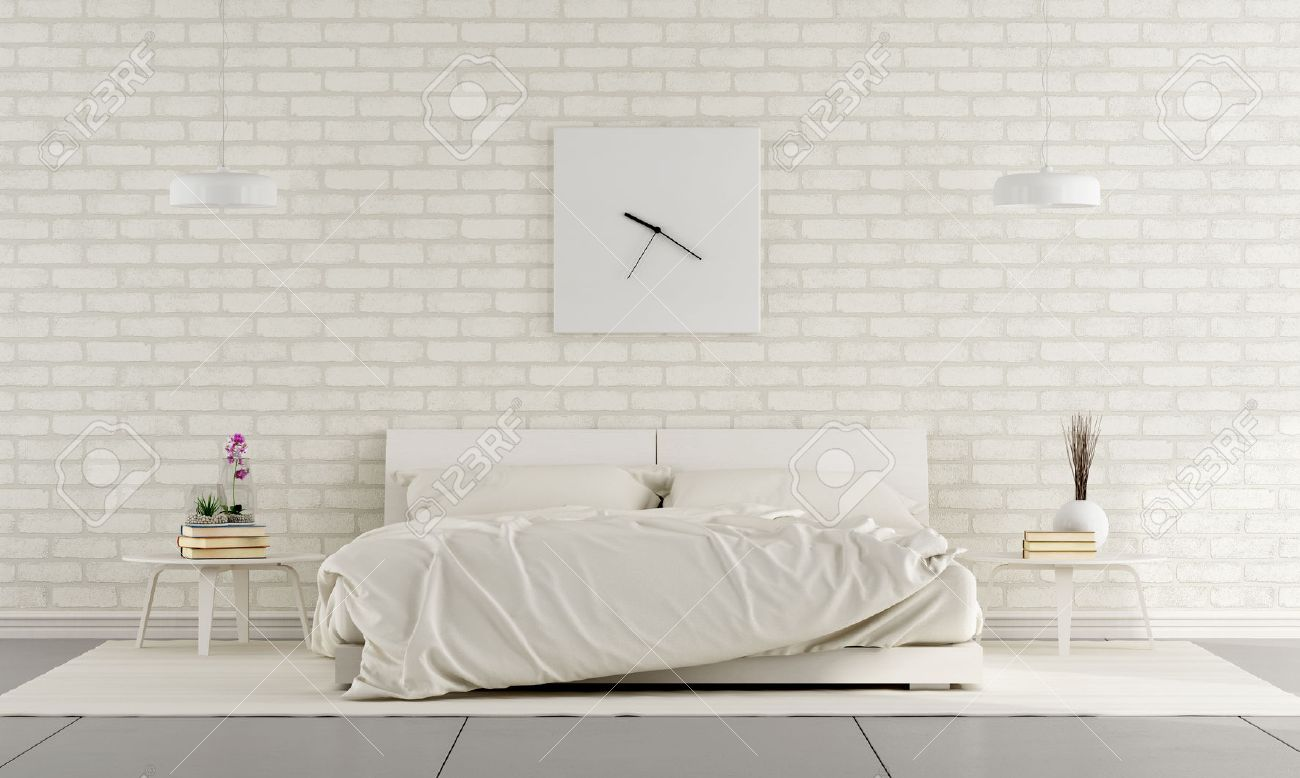 Minimalist white bedroom with double bed and brick wall - 3D Rendering Standard-Bild - 40920017