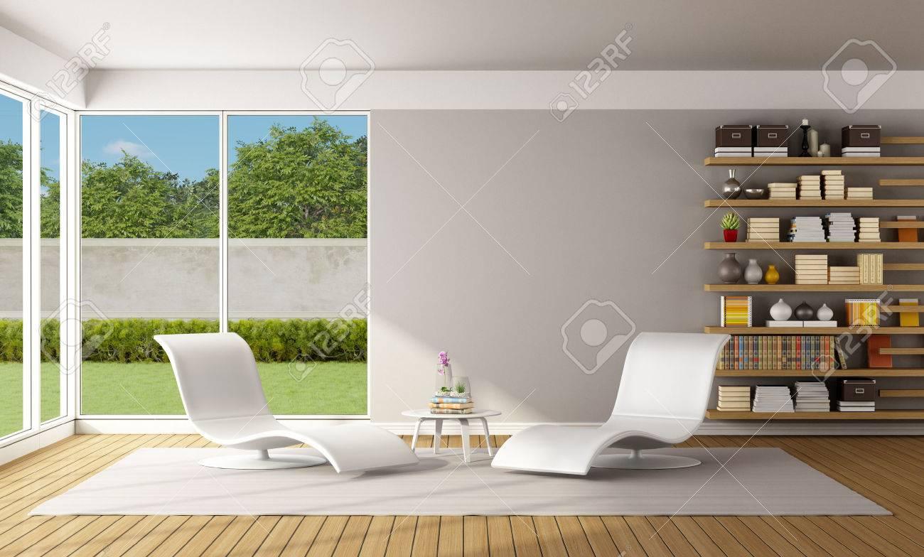 Deux Rendu Chaise Blanc Et Moderne Bibliothèque 3d Avec Longue Salon Bois En xedCBo