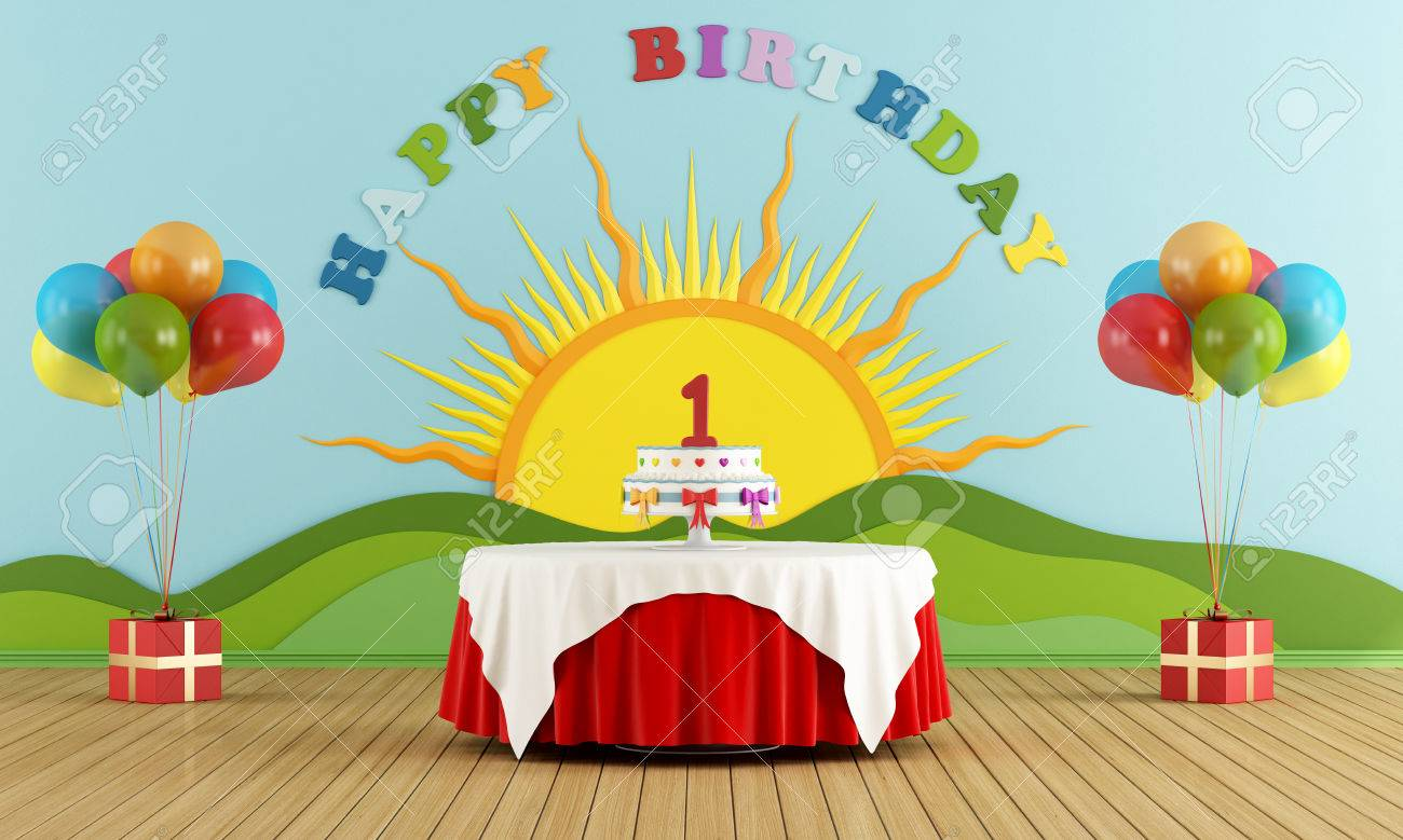 Birthday Party With Round Table With Cake And Colorful Decoration ...