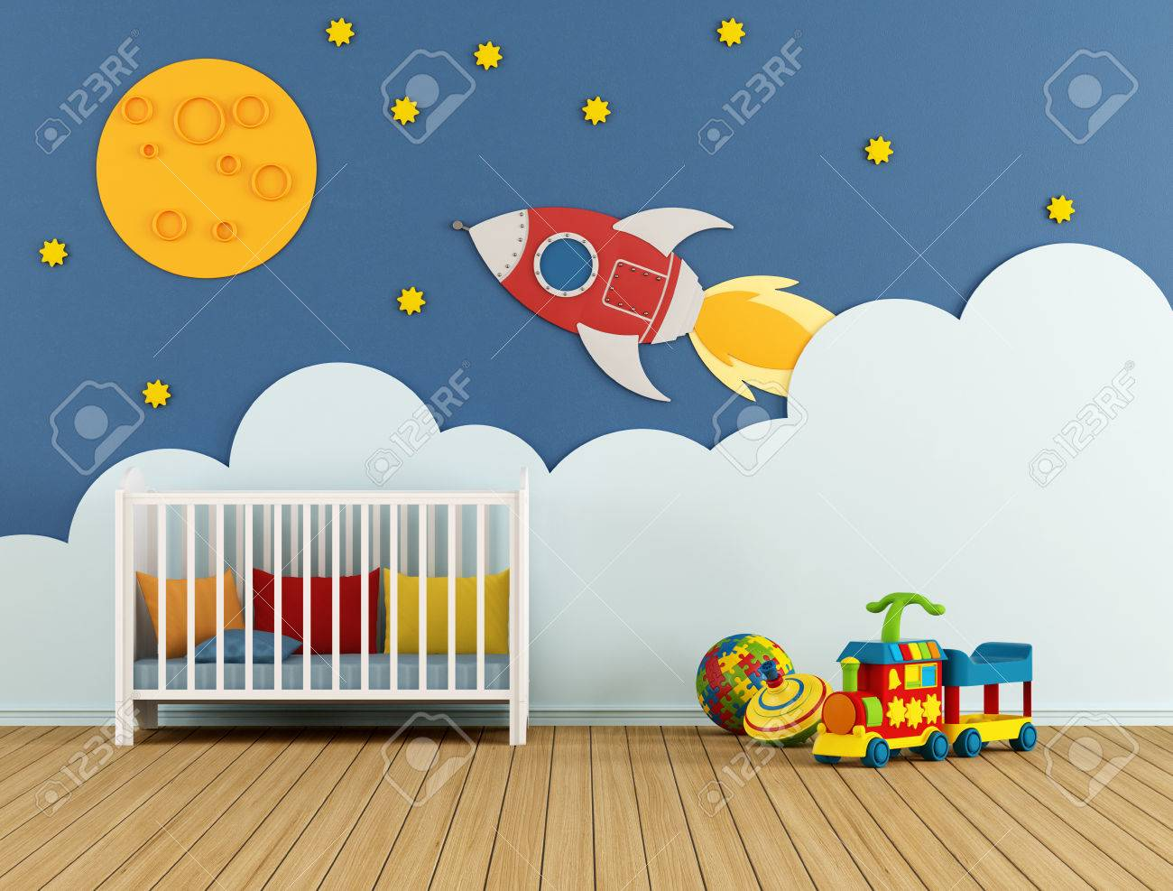 Baby room with cradle and decoration on wall - 3D Rendering Standard-Bild - 41972082