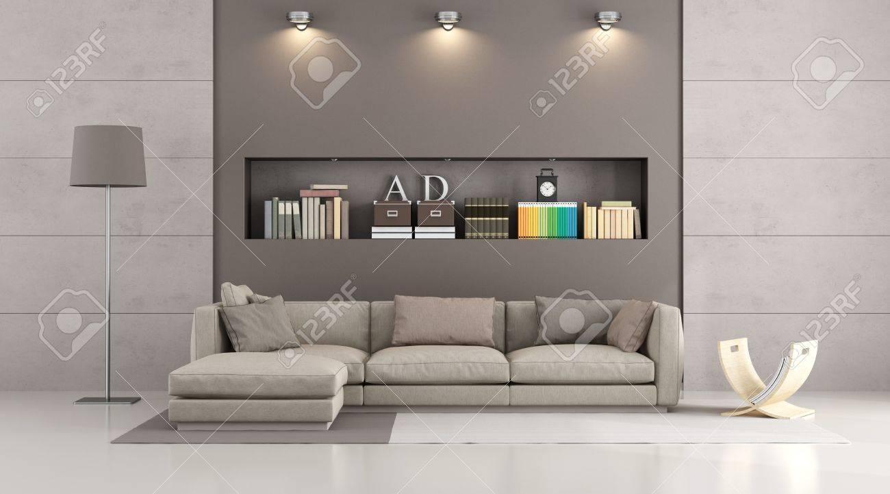 Canape Moderne Dans Un Salon Contemporain Avec Niche Des Livres Et Des Objets De Decoration Rendu 3d