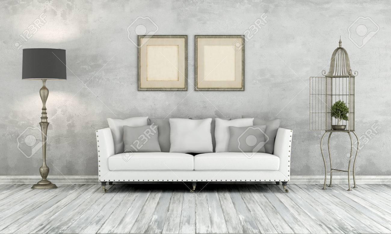 Grigio retrò soggiorno con divano lampada da terra classica e gabbia con  bonsay - Rendering 3D